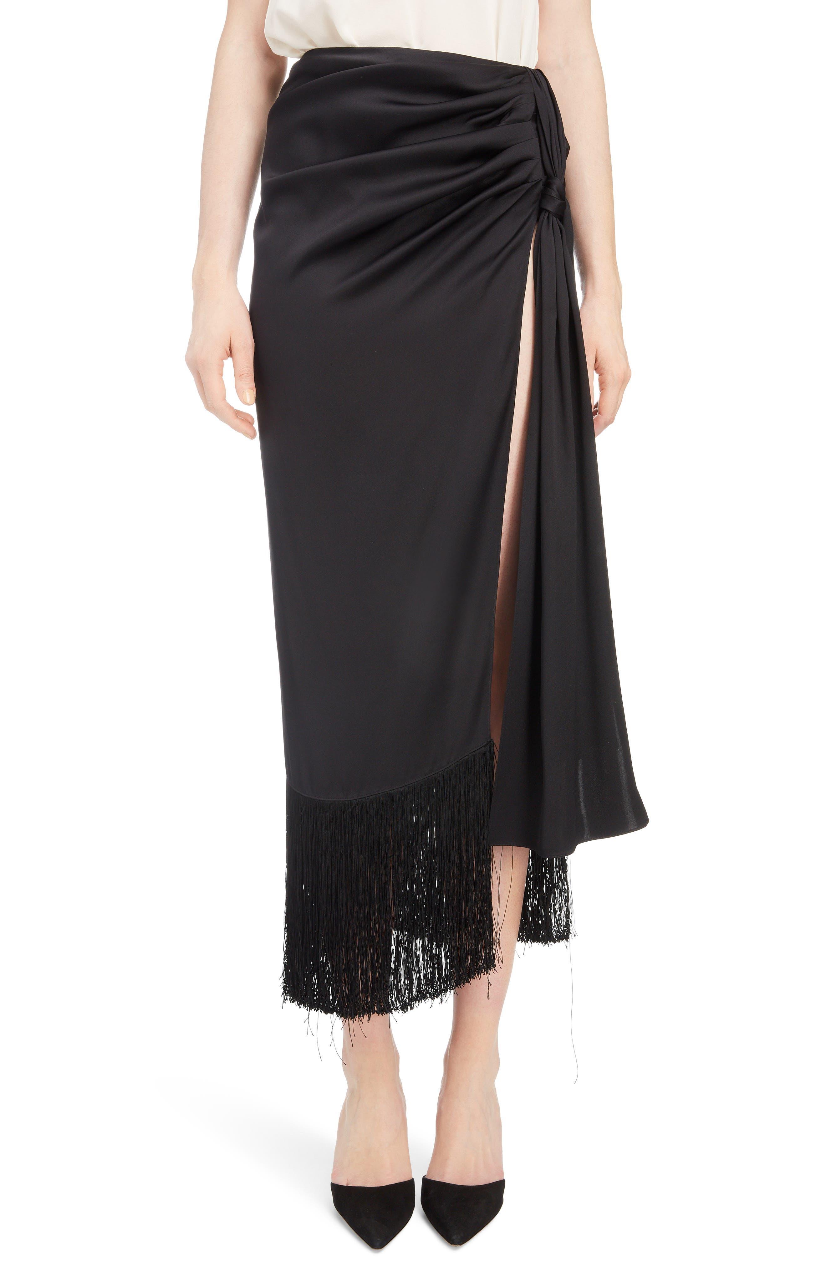 Fringe Trim Silk Skirt,                             Main thumbnail 1, color,                             BLACK