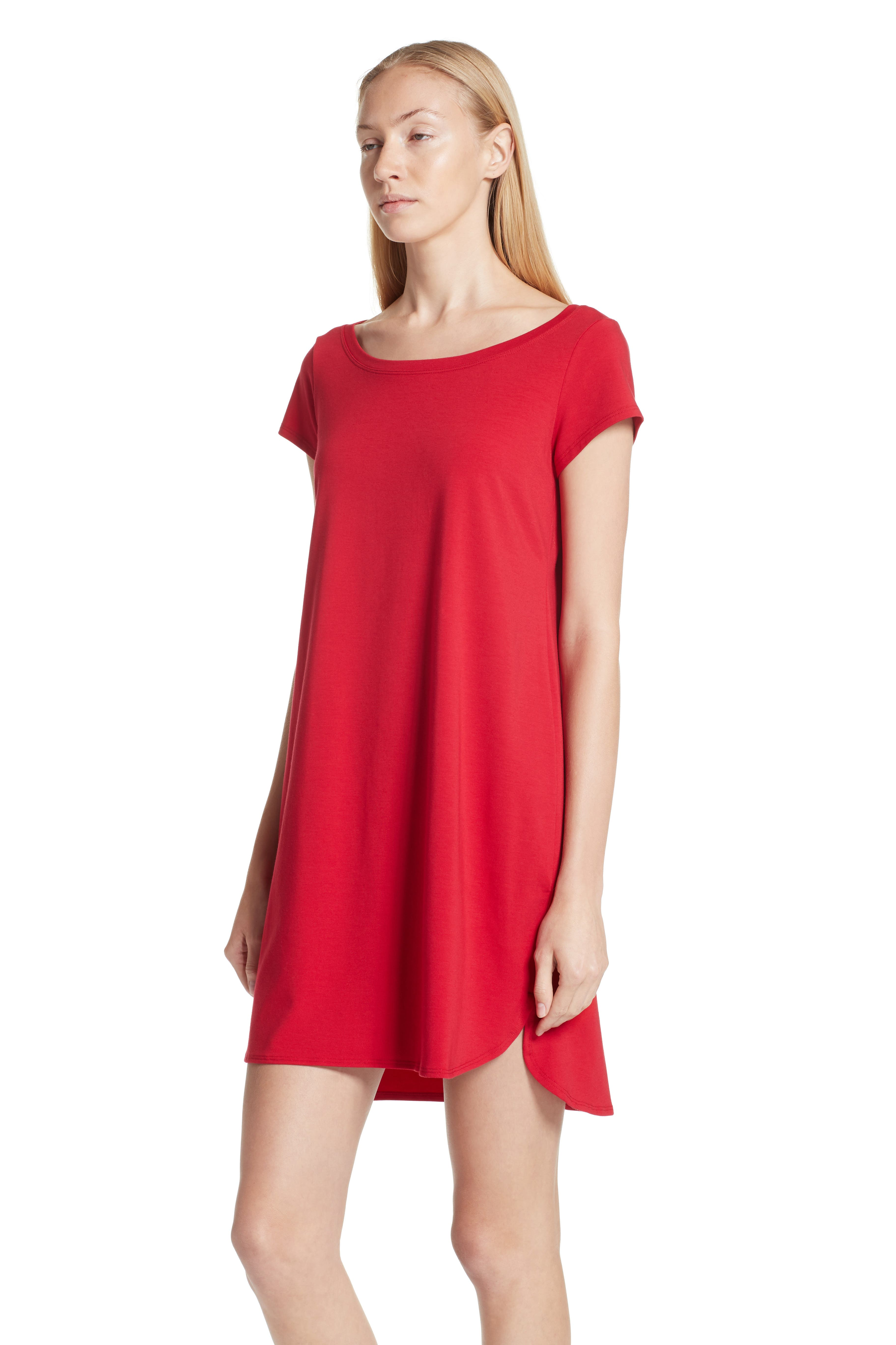 EILEEN FISHER,                             Jersey Jewel Neck Flare Dress,                             Alternate thumbnail 3, color,                             245