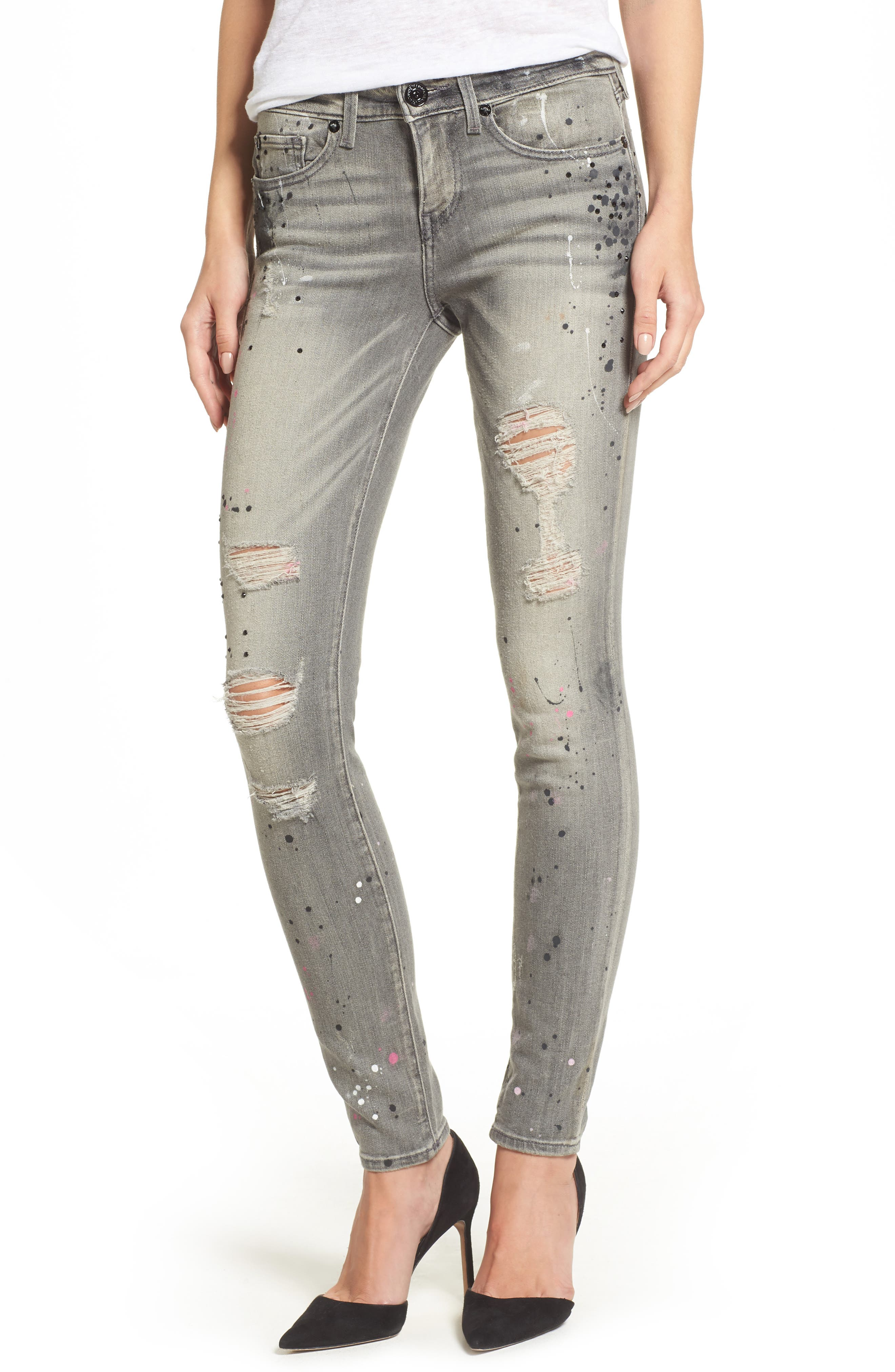 Halle Paint Splatter Skinny Jeans,                             Main thumbnail 1, color,                             021