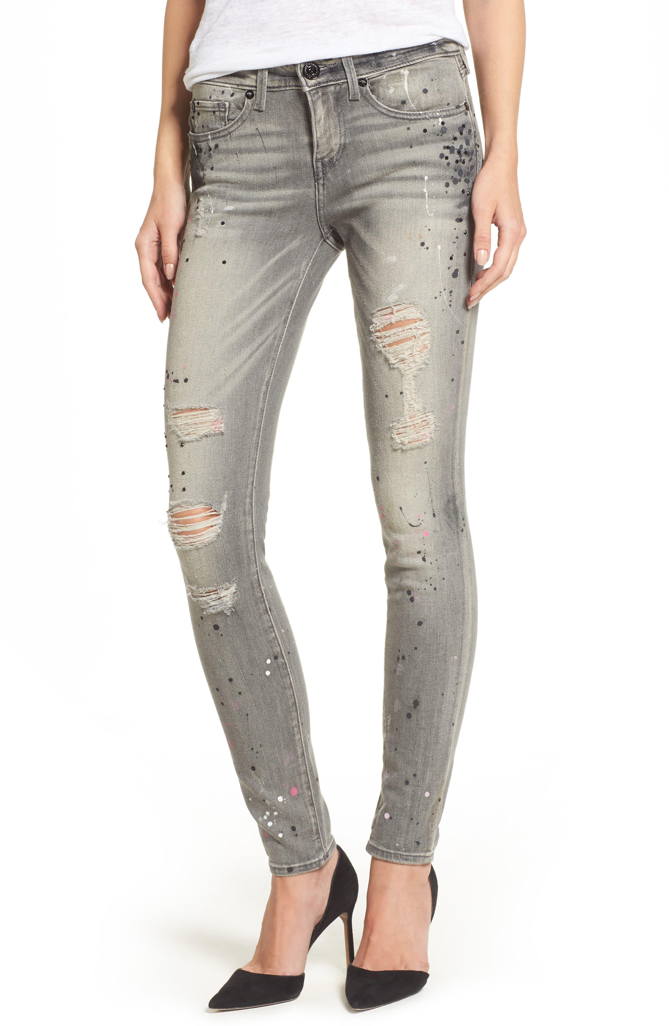 Halle Paint Splatter Skinny Jeans,                         Main,                         color, 021