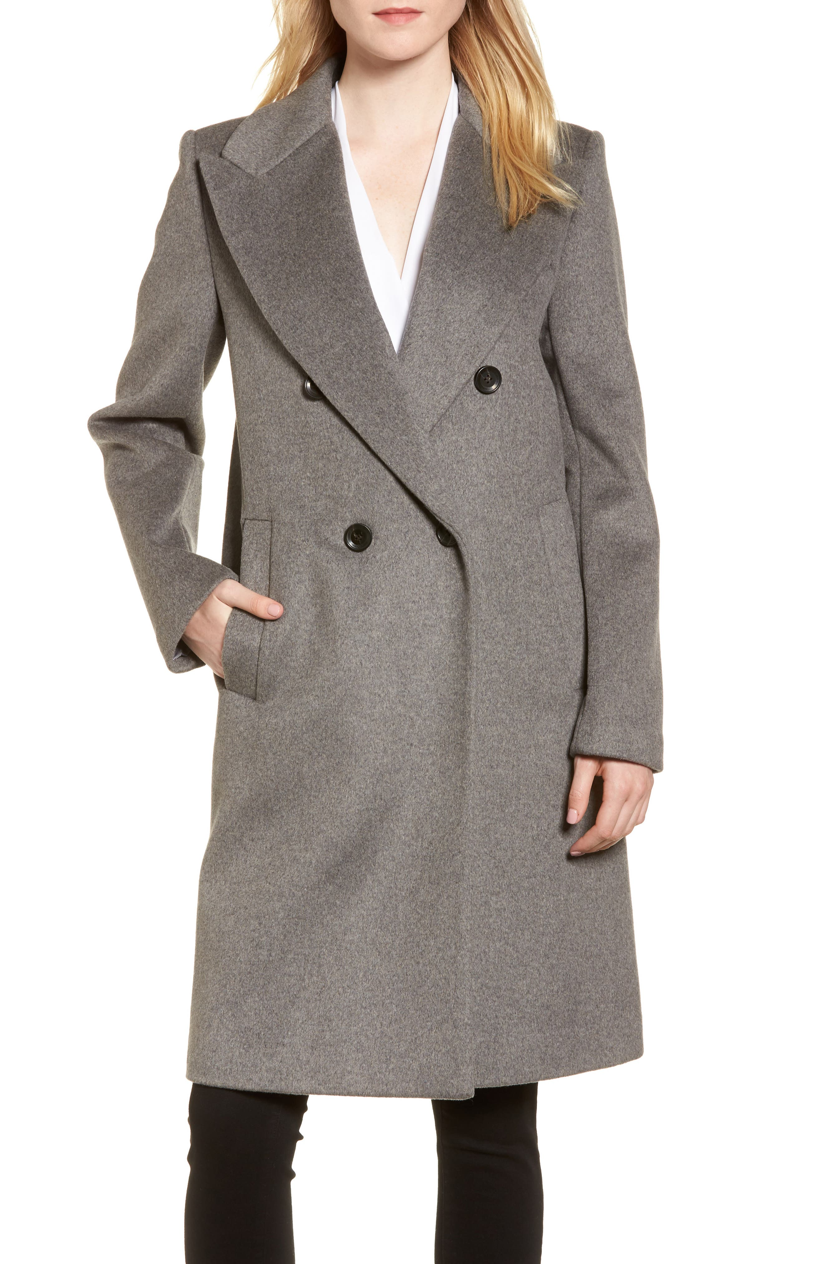 DKNY Lavish Wool Blend Coat,                             Main thumbnail 2, color,