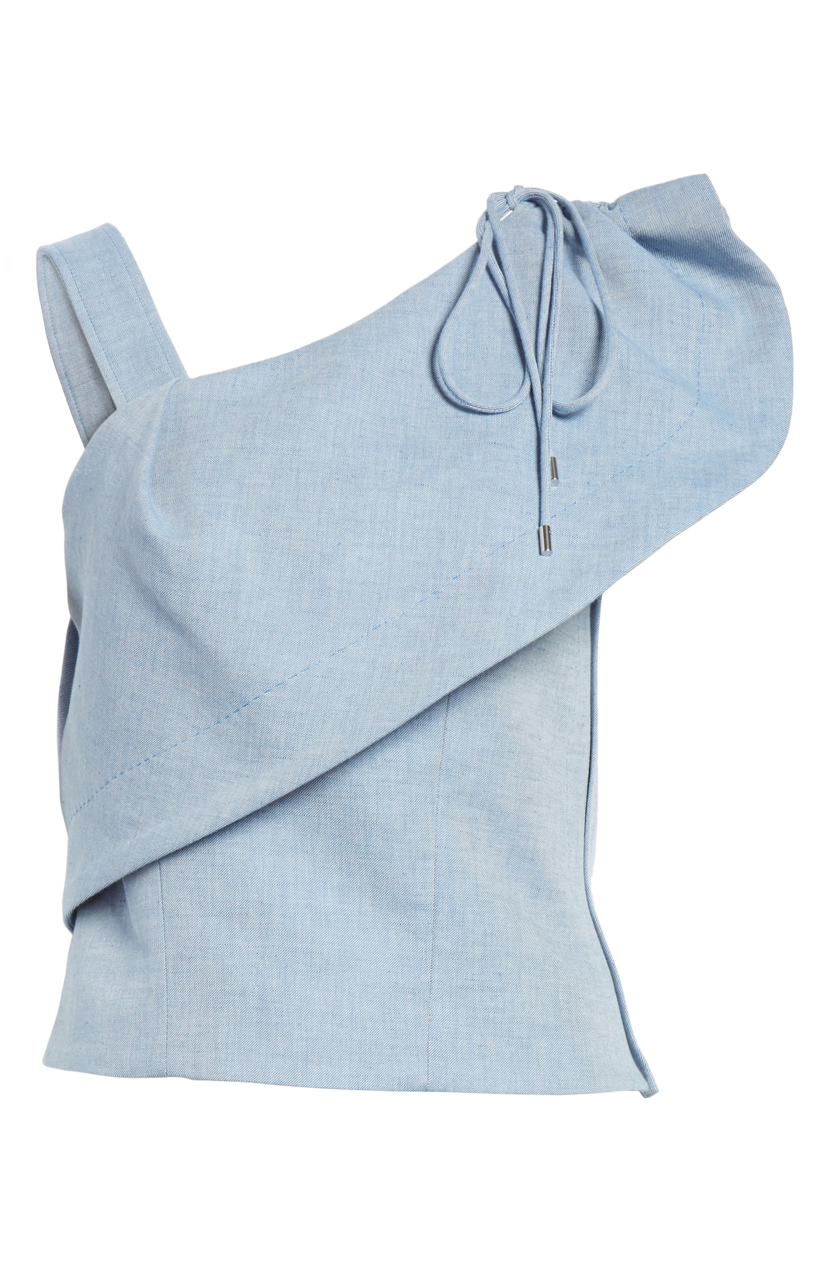 One-Shoulder Cotton & Linen Blend Top,                             Alternate thumbnail 6, color,                             400