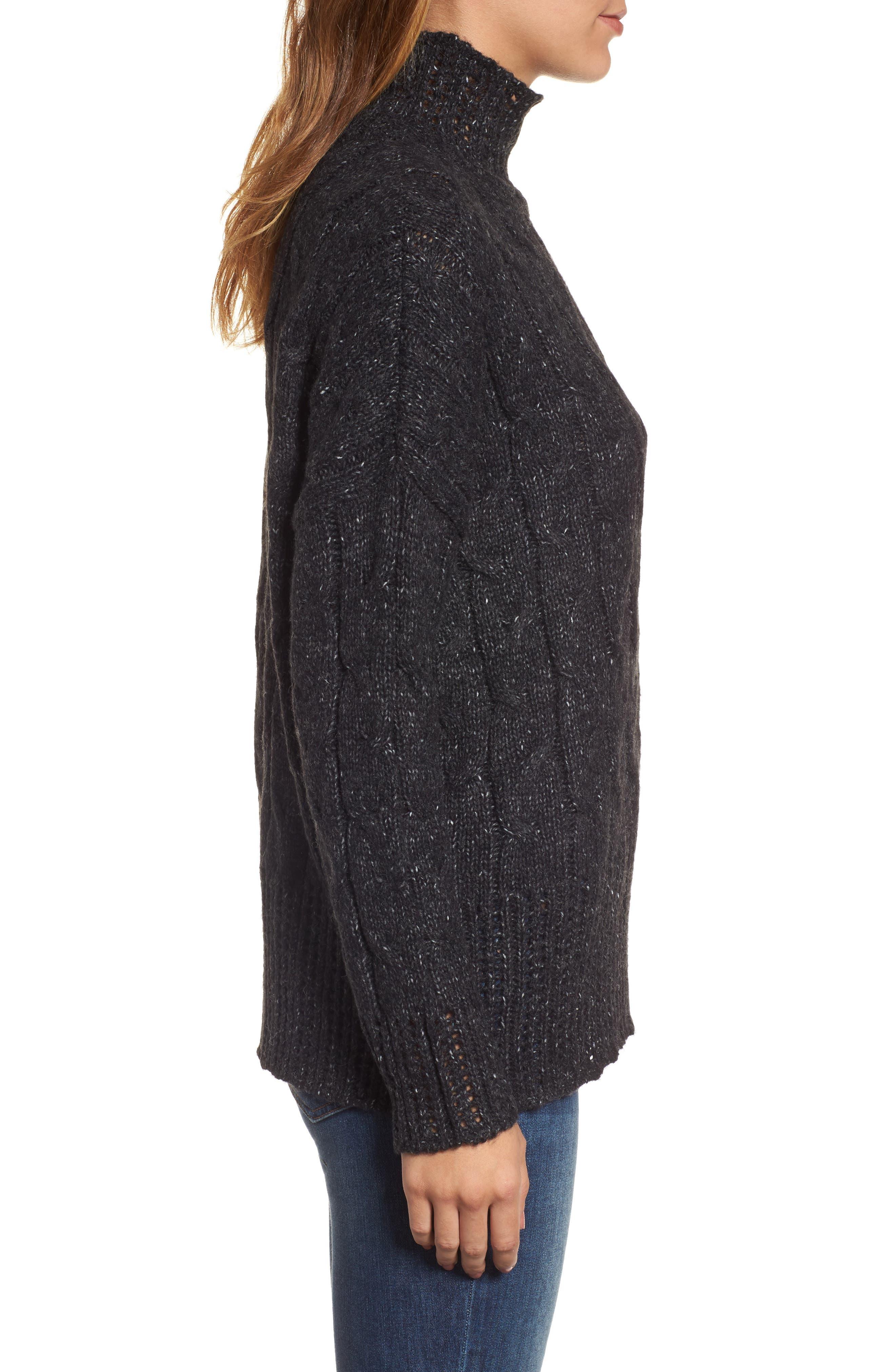 Pointelle Turtleneck Sweater,                             Alternate thumbnail 3, color,                             001