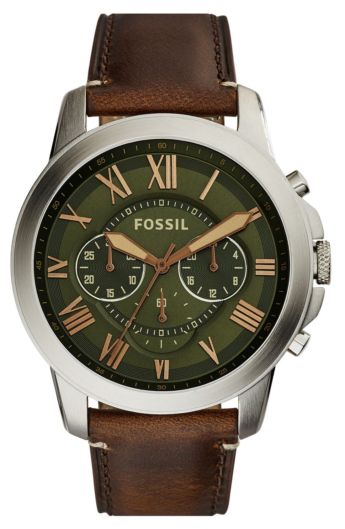 'Grant' Round Chronograph Leather Strap Watch, 44mm,                             Main thumbnail 21, color,
