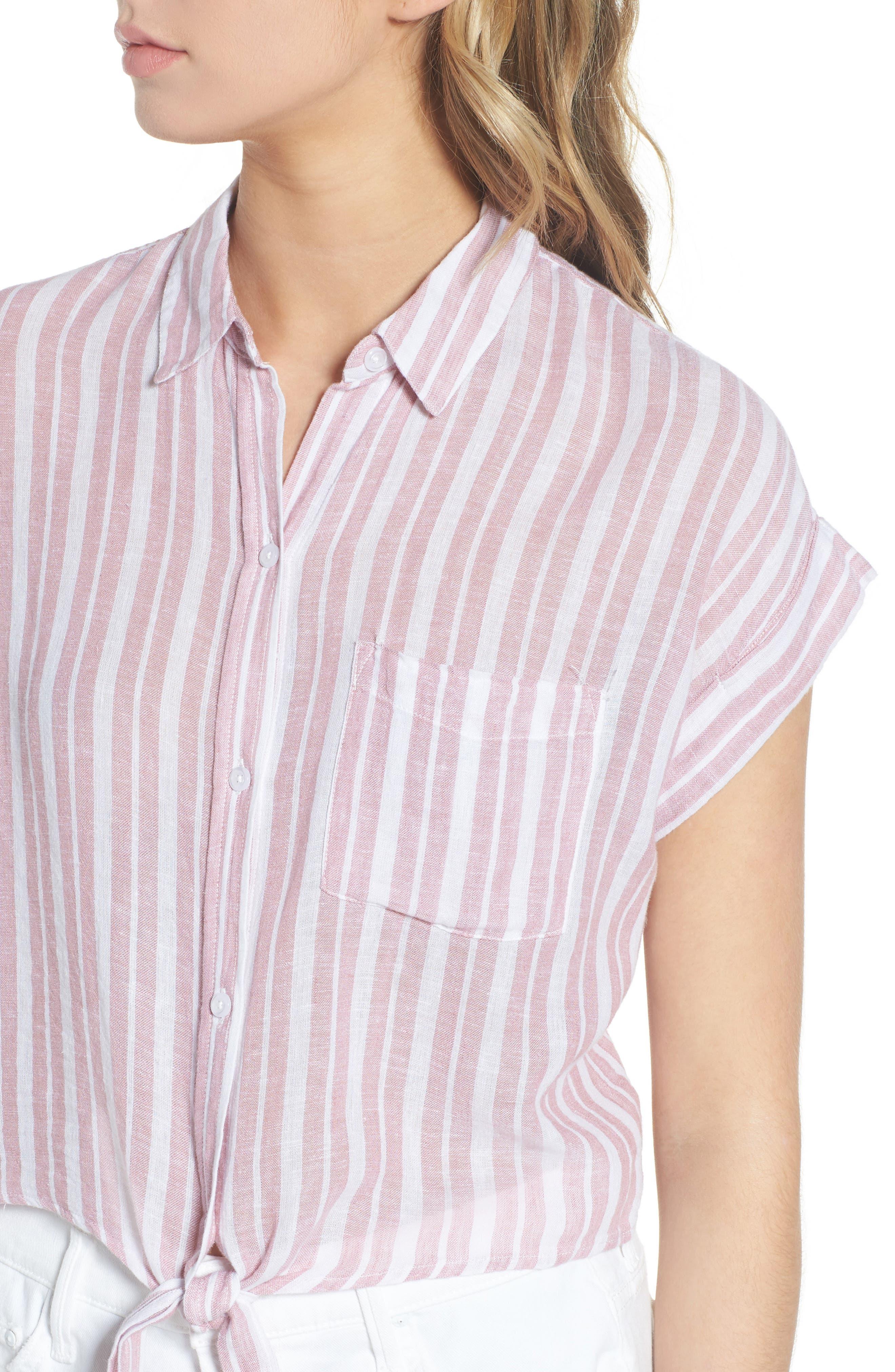 Amelie Tie Front Shirt,                             Alternate thumbnail 4, color,                             BORDEAUX STRIPE