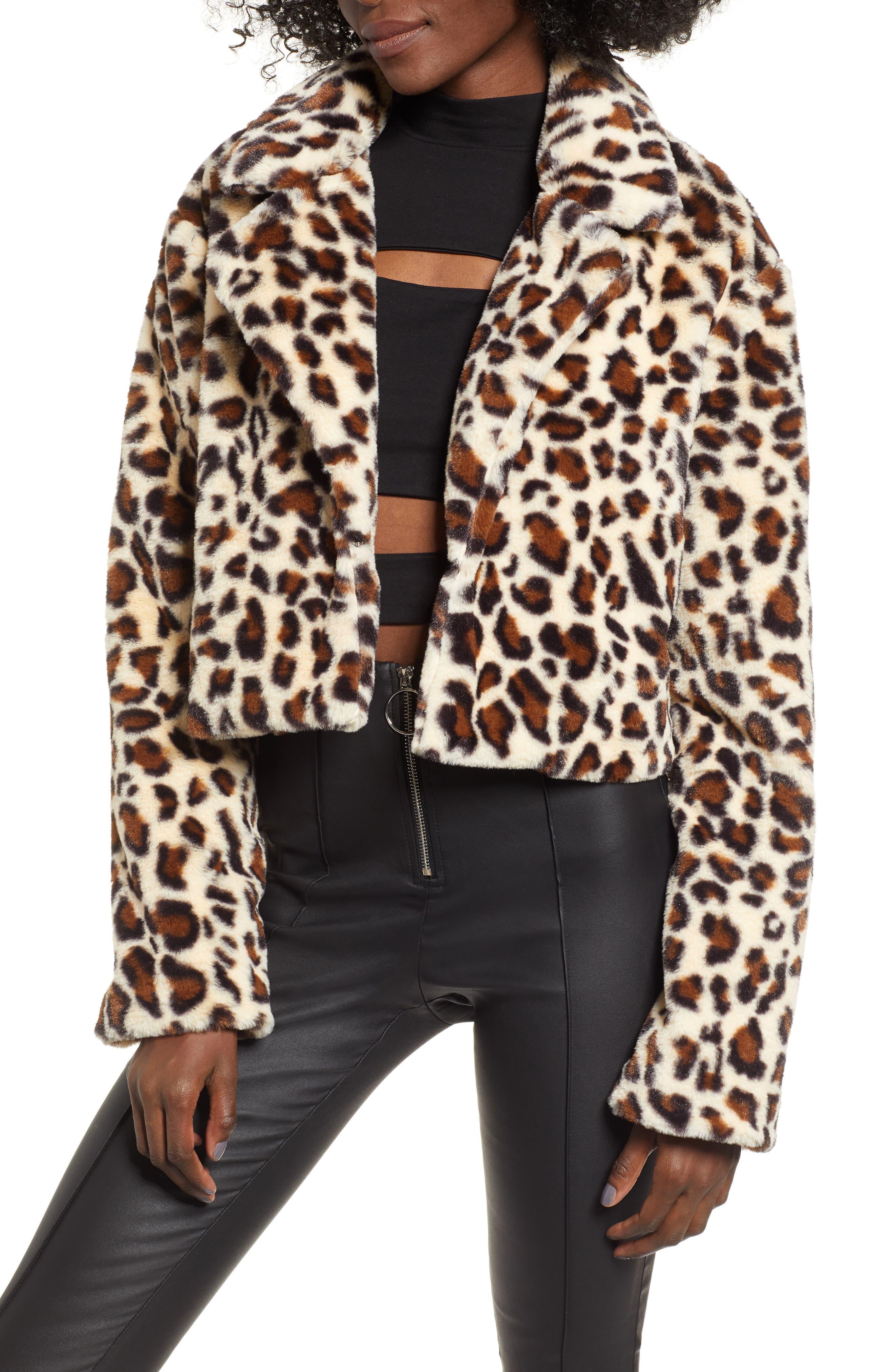Mimi Faux Fur Jacket,                             Main thumbnail 1, color,                             LEOPARD