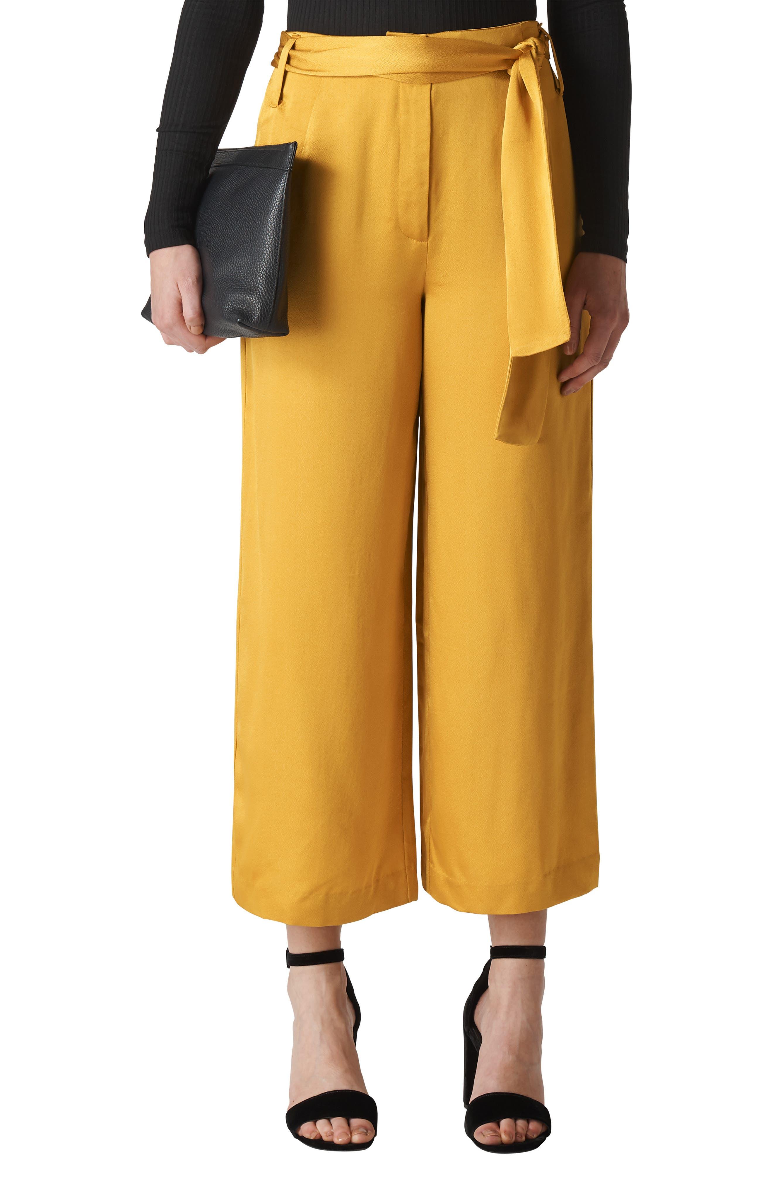 Belted Wide Leg Pants,                         Main,                         color, GOLD