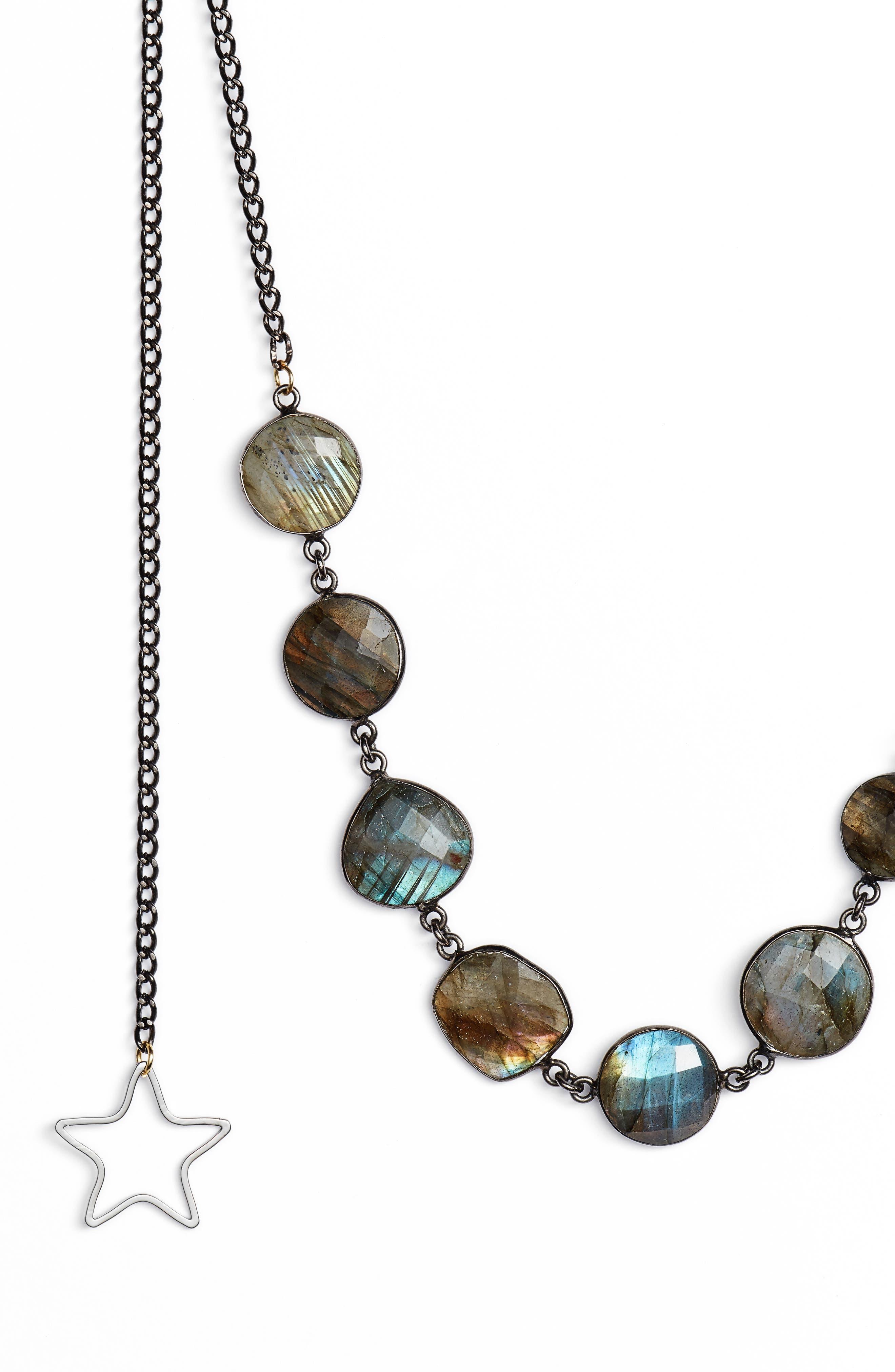 Stargirl Labradorite Lariat Necklace,                             Alternate thumbnail 2, color,                             GUNMETAL/ GREY