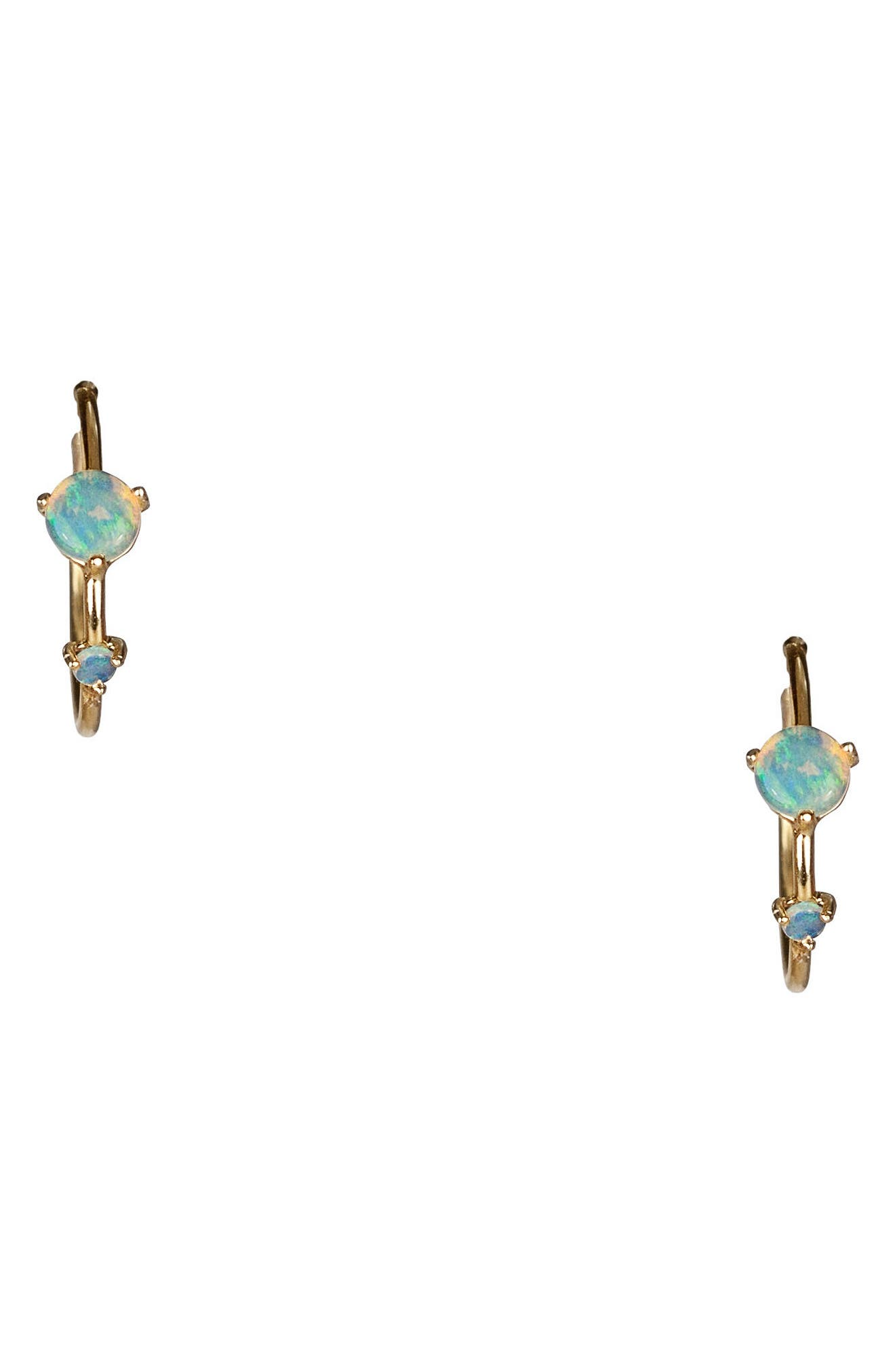 Counting Collection Small Two-Step Opal & Diamond Hoop Earrings,                             Main thumbnail 1, color,                             OPAL