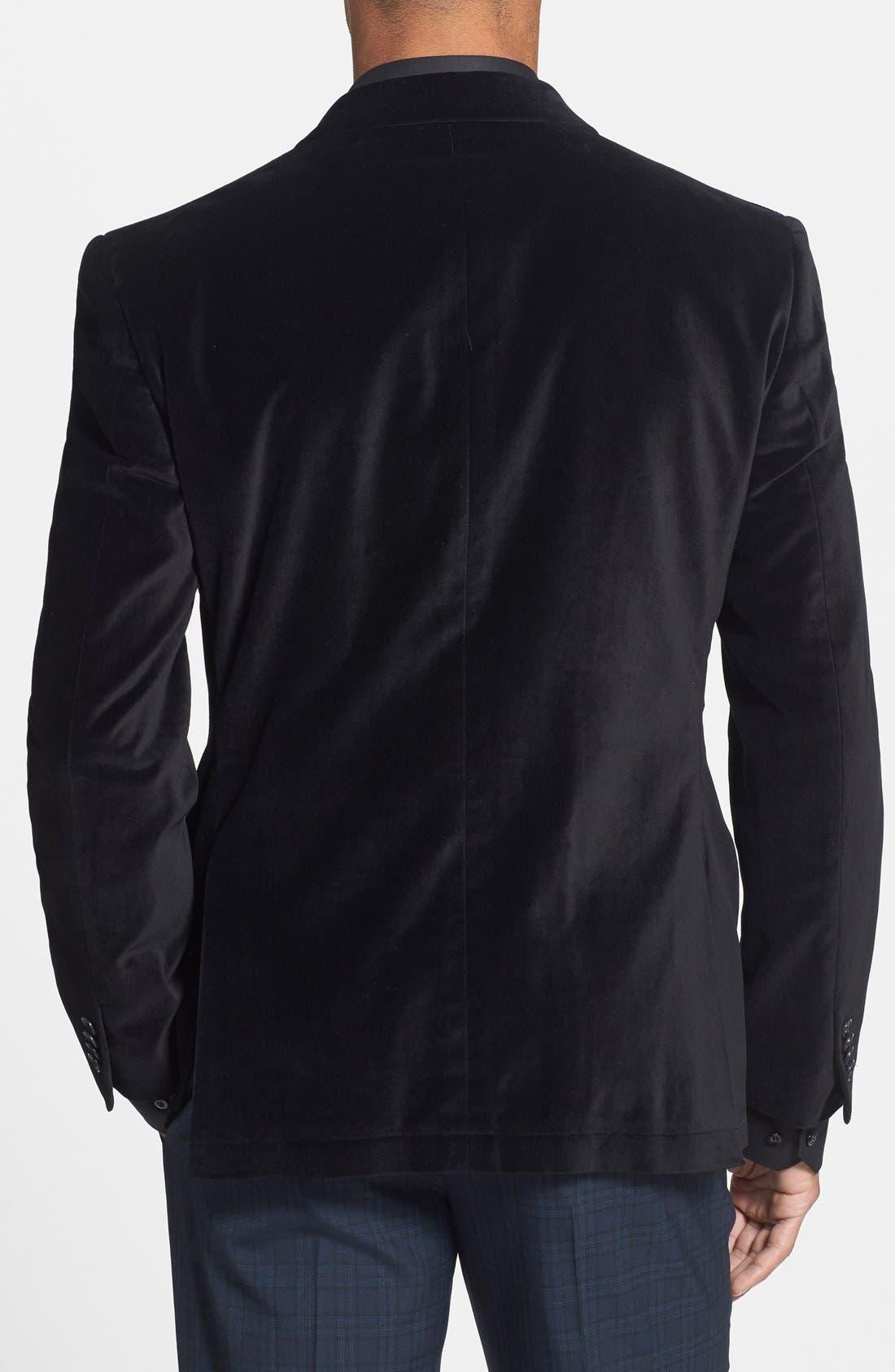 JOHN VARVATOS STAR USA,                             Black Velvet Blazer,                             Alternate thumbnail 5, color,                             001