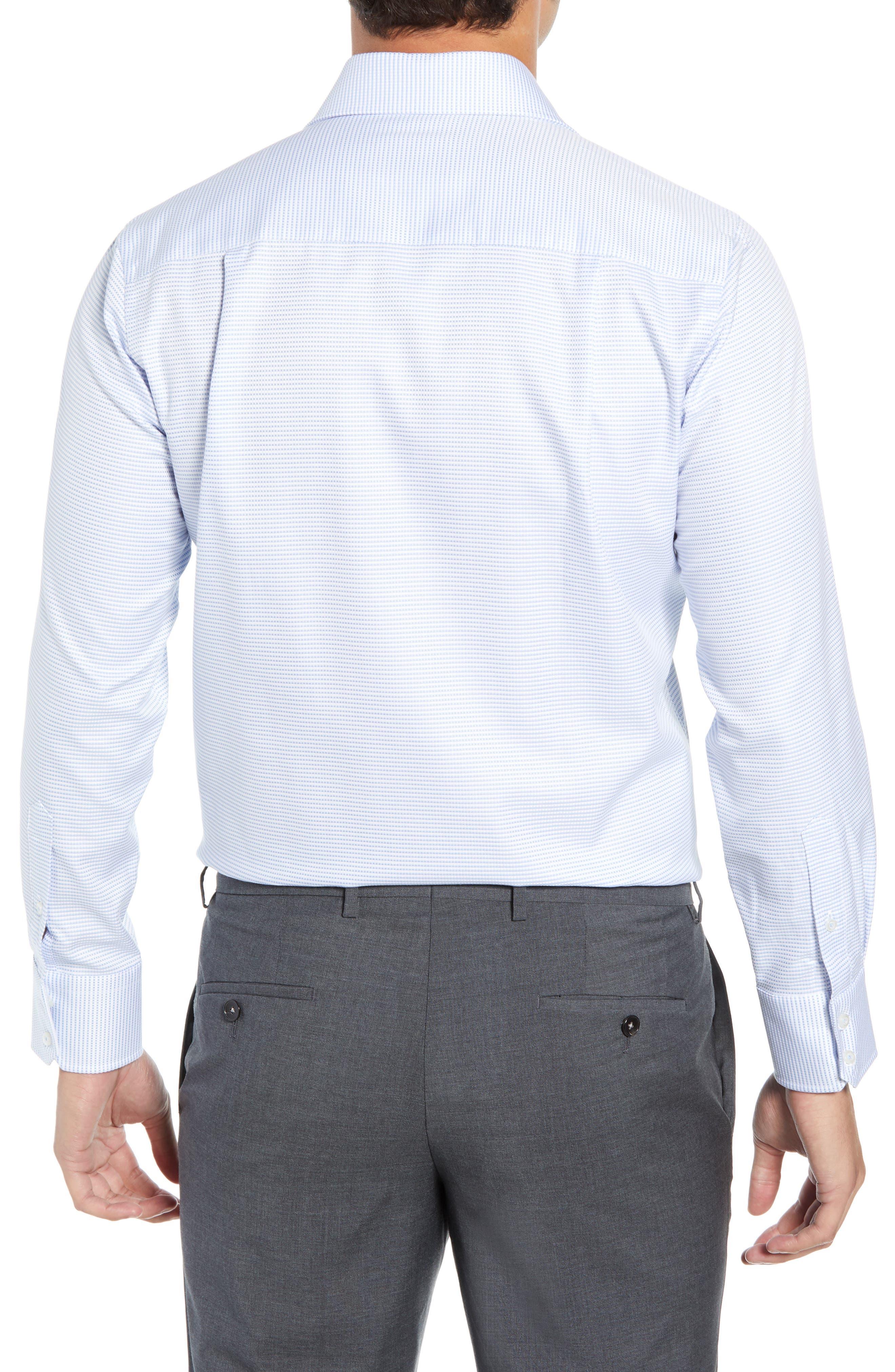 Trim Fit Solid Dress Shirt,                             Alternate thumbnail 3, color,                             BLUE