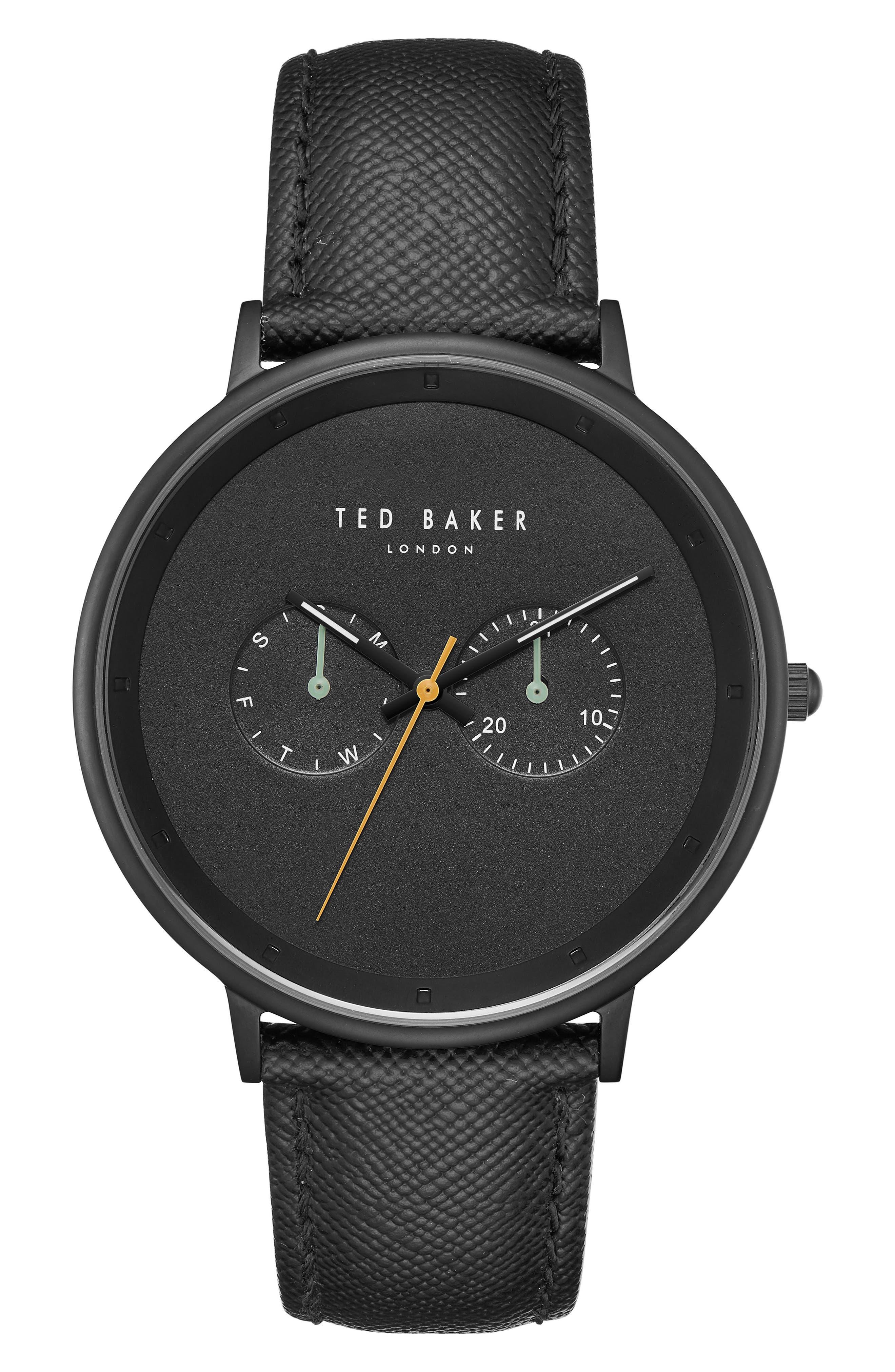 Brad Multifunction Leather Strap Watch, 42mm,                         Main,                         color, BLACK/ BLACK