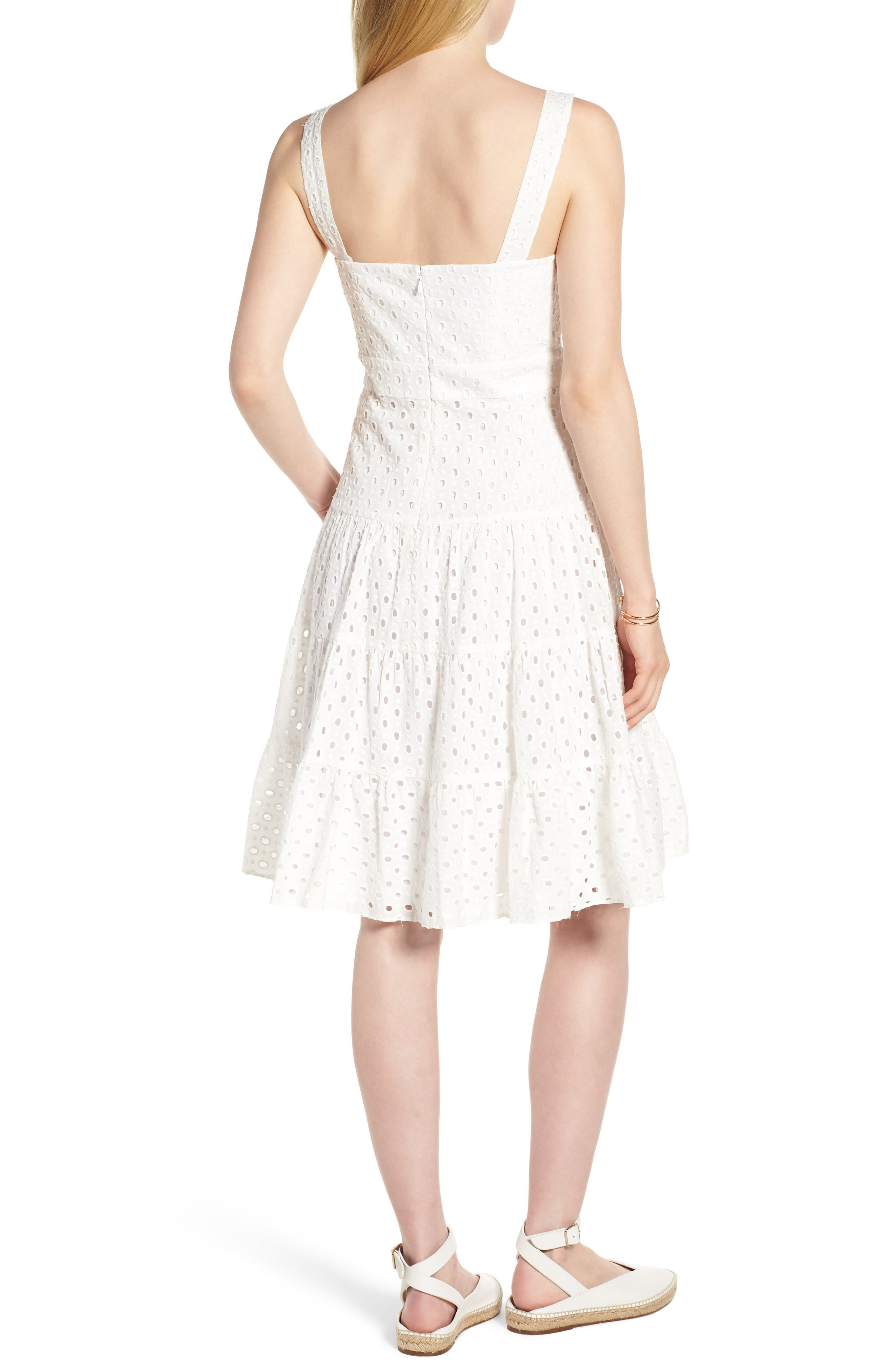 Eyelet Fit & Flare Dress,                             Alternate thumbnail 2, color,                             100