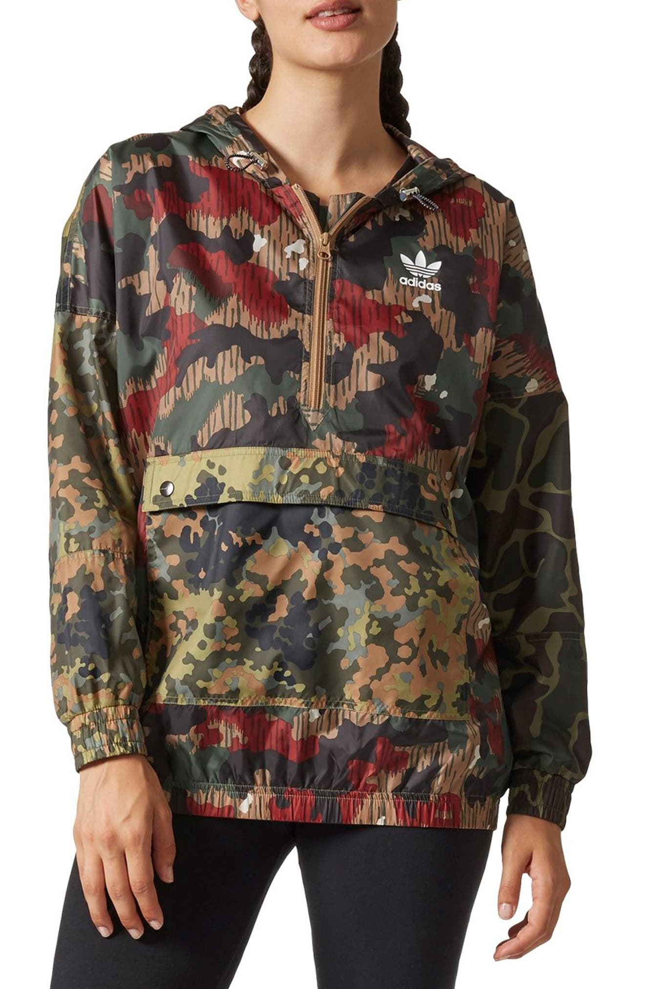 Originals by Pharrell Williams HU Hiking Camo Logo Windbreaker,                         Main,                         color, 300