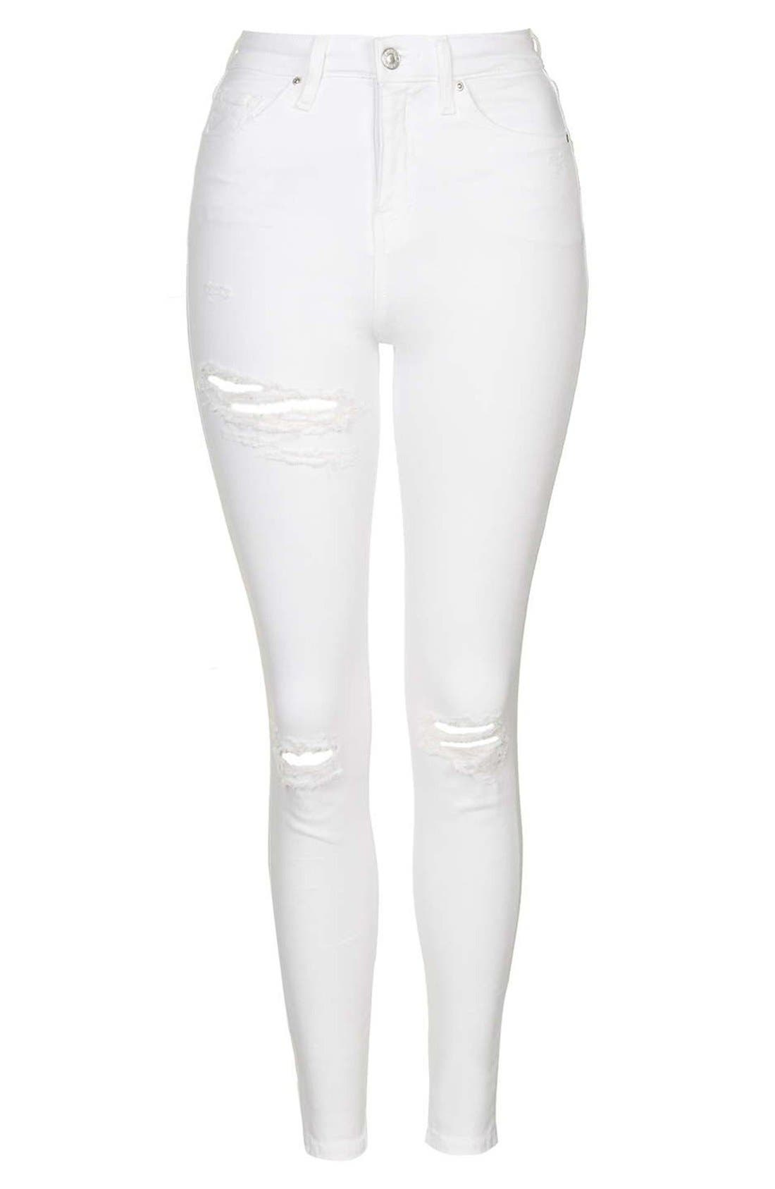 'Jamie - Super Ripped' High Waist Skinny Jeans,                             Alternate thumbnail 4, color,