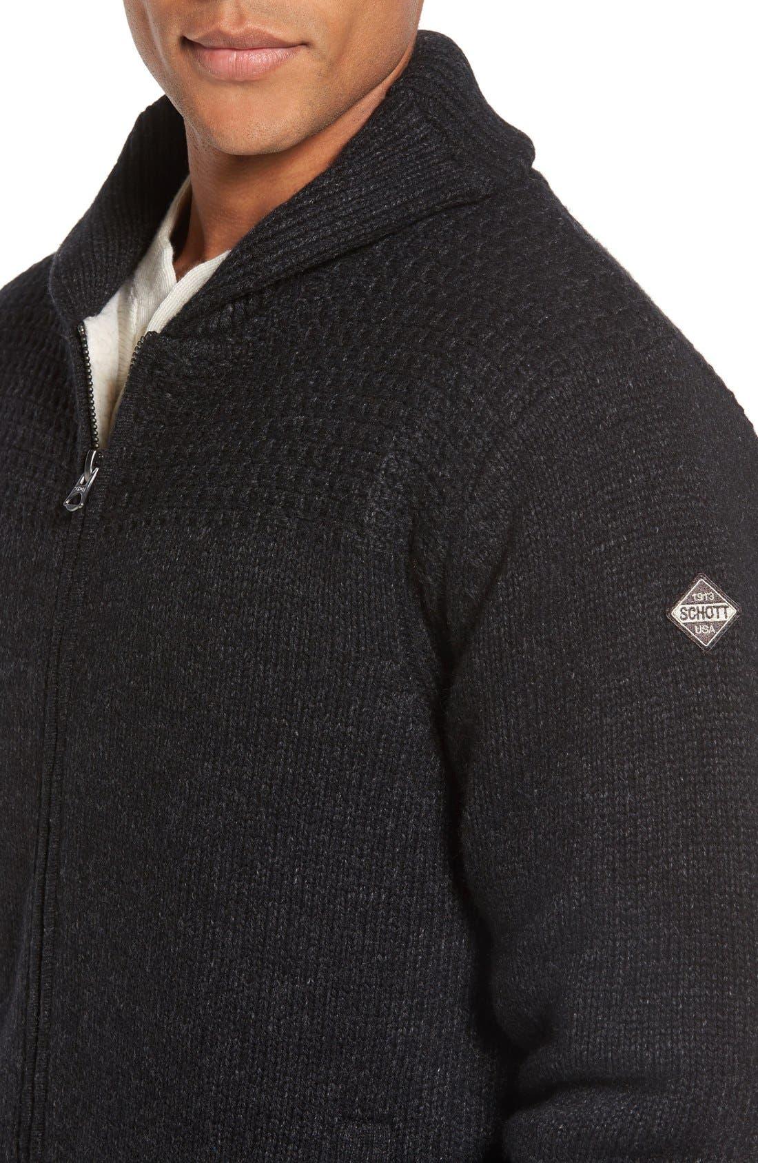 SCHOTT NYC,                             Lined Wool Zip Sweater,                             Alternate thumbnail 7, color,                             BLACK
