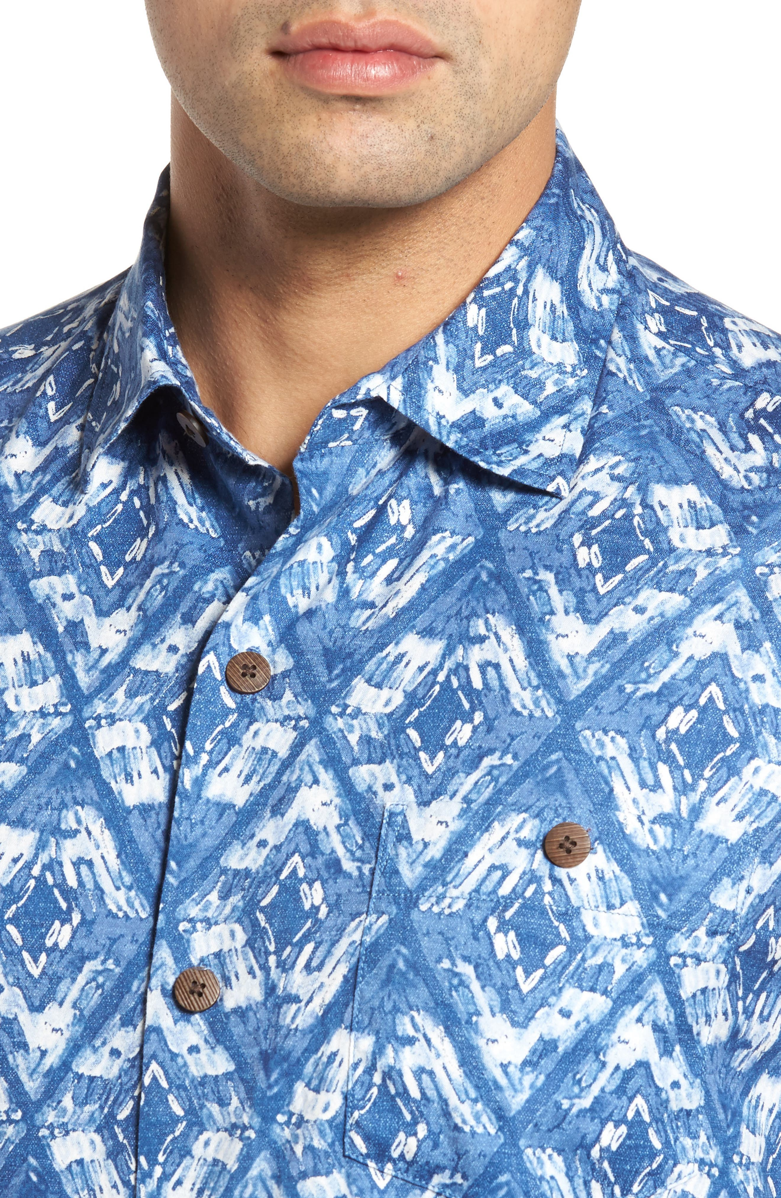 Deep Water Diamond Camp Shirt,                             Alternate thumbnail 4, color,                             400
