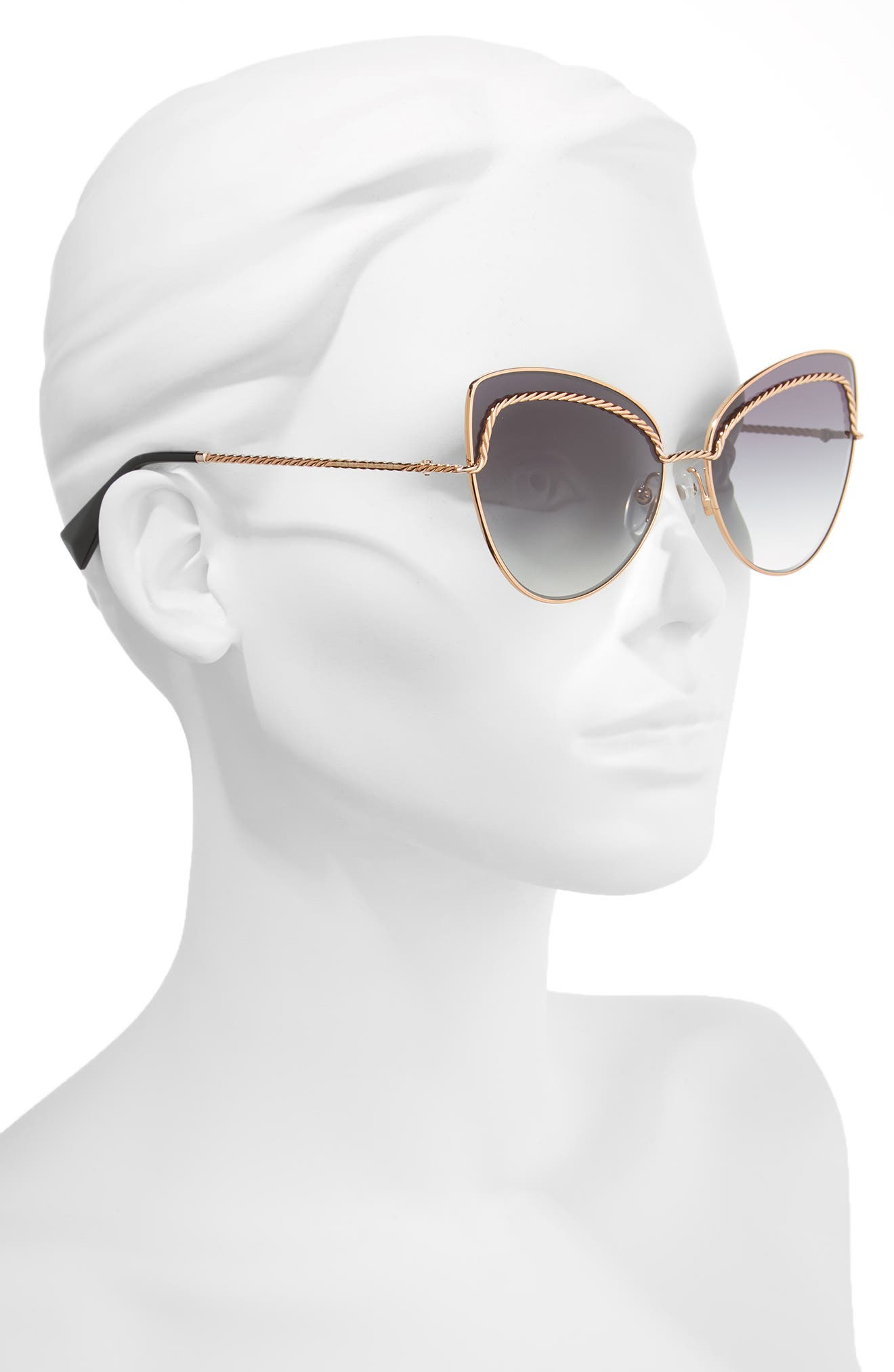 61mm Butterfly Sunglasses,                             Alternate thumbnail 3, color,