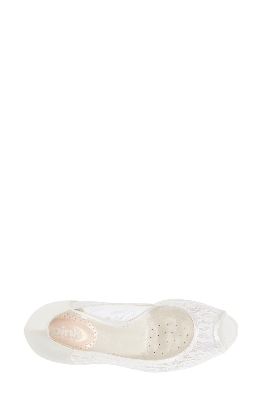 'Scrumptious' Lace Peep Toe Sandal,                             Alternate thumbnail 3, color,                             IVORY MESH LACE