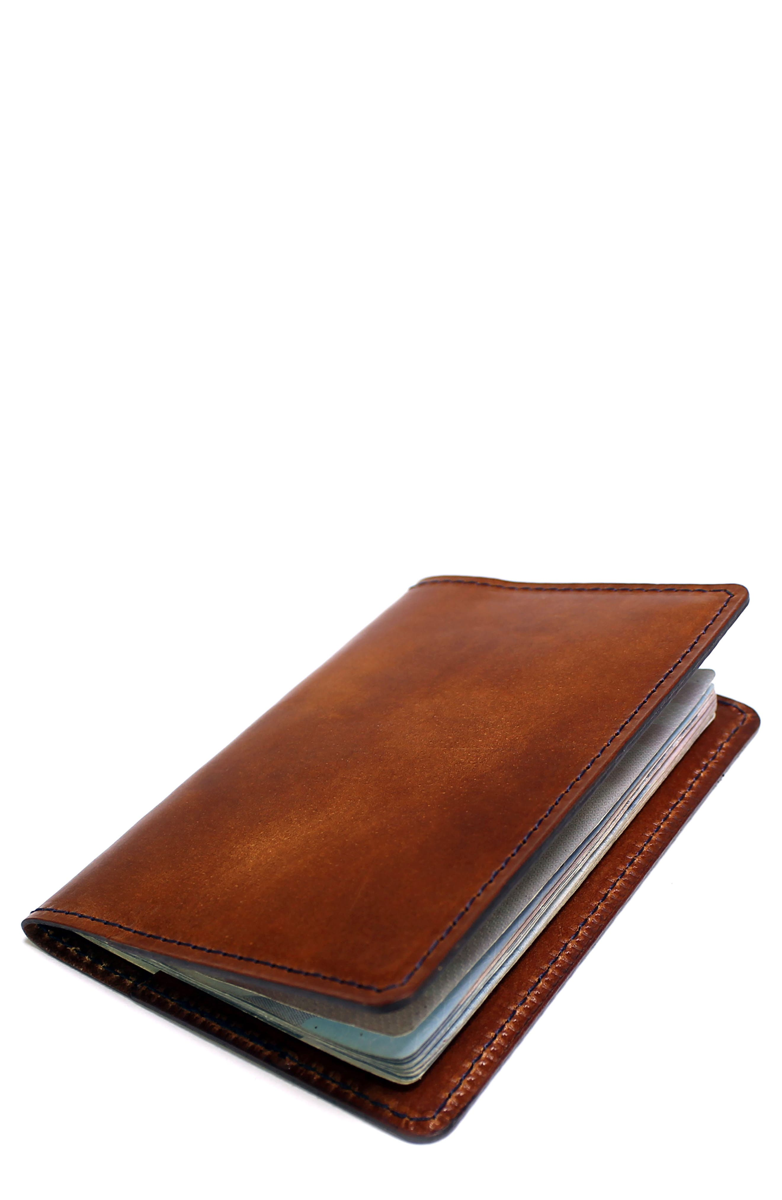 Leather Passport Wallet,                         Main,                         color, WHISKEY