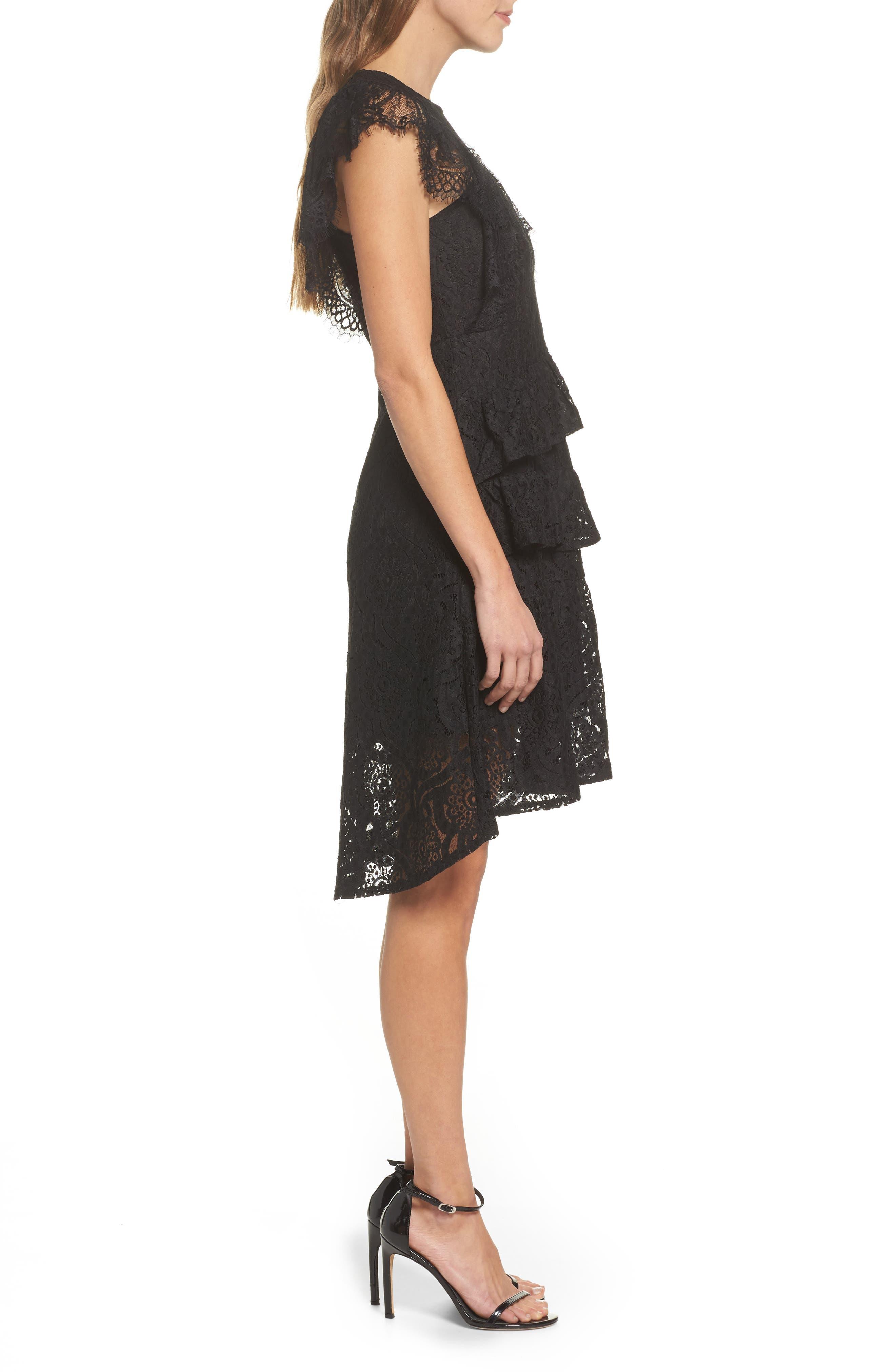 Ruffle Lace High/Low dress,                             Alternate thumbnail 3, color,                             BLACK