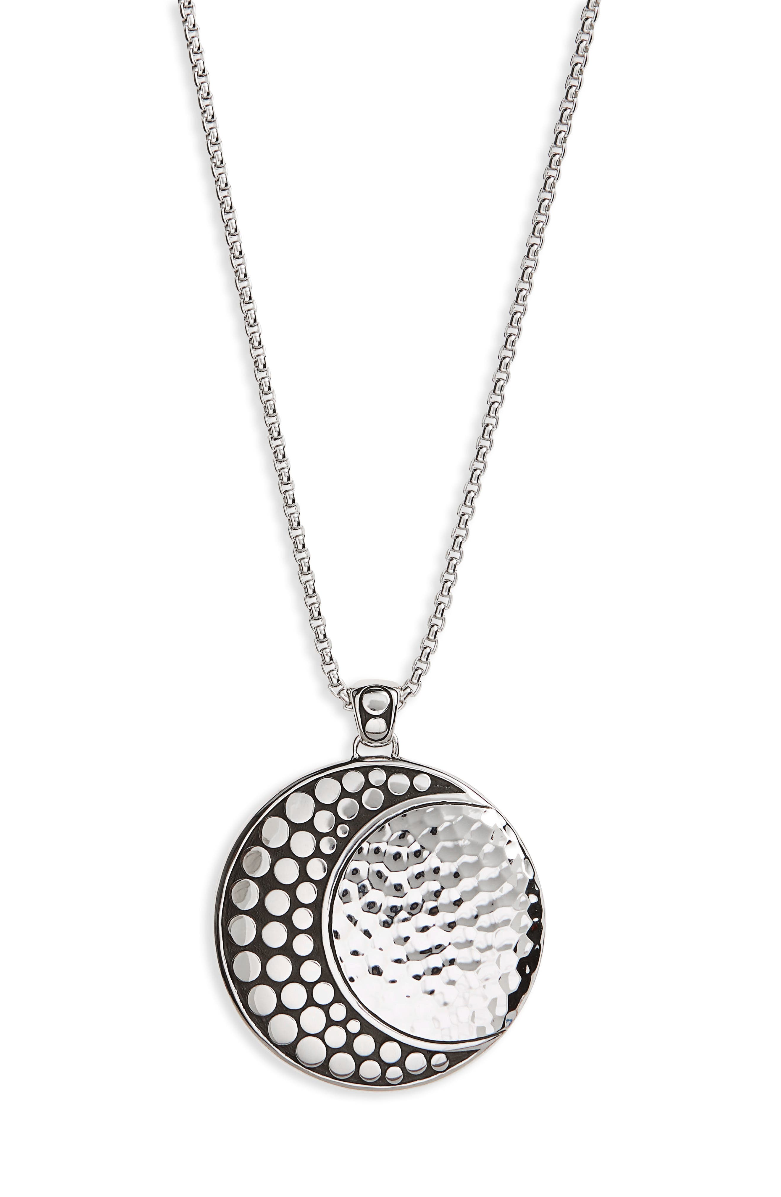 Hammered Dot Pendant Necklace,                             Alternate thumbnail 3, color,                             SILVER