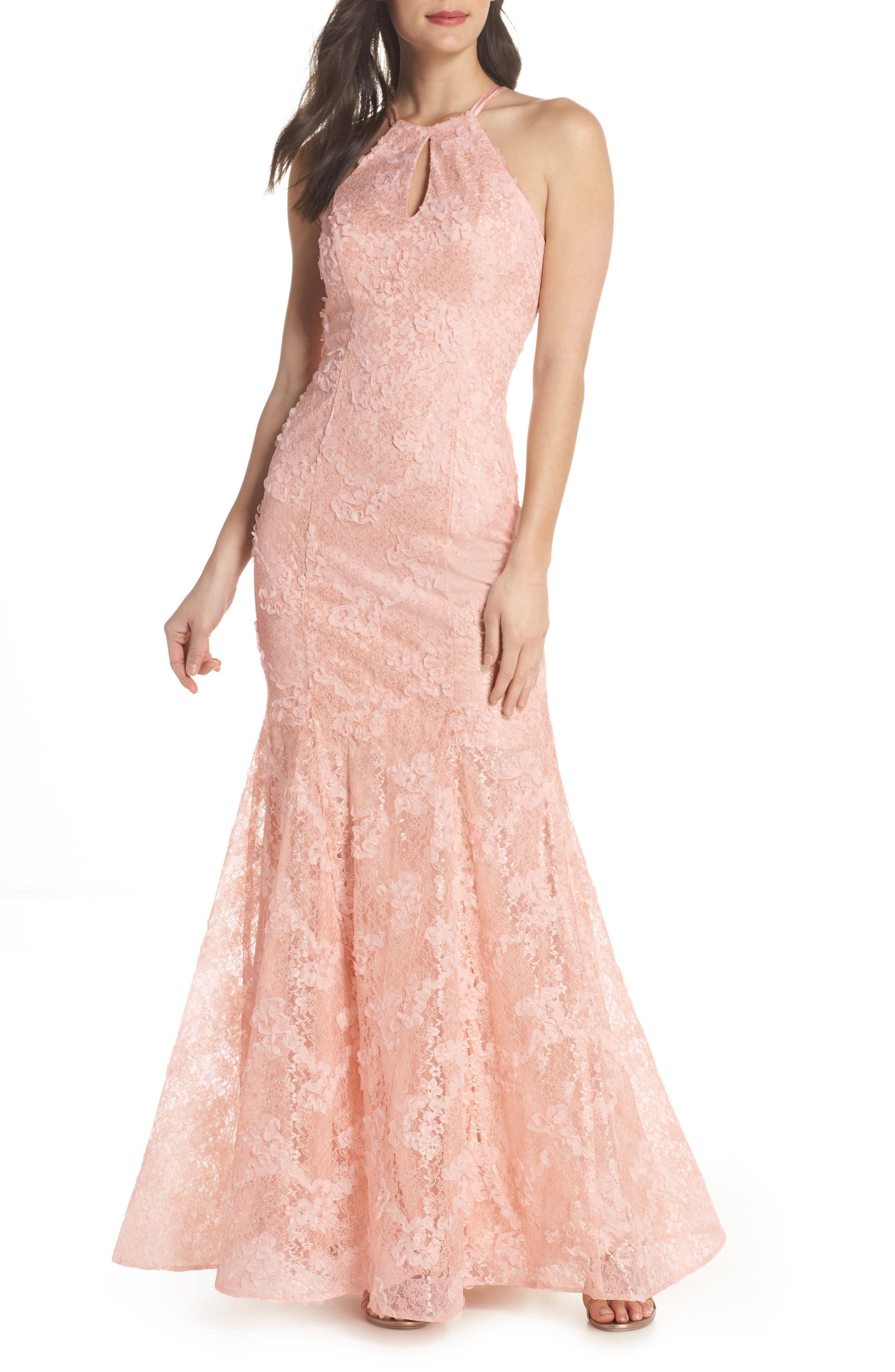 Ruched Lace Halter Mermaid Gown,                         Main,                         color, 680