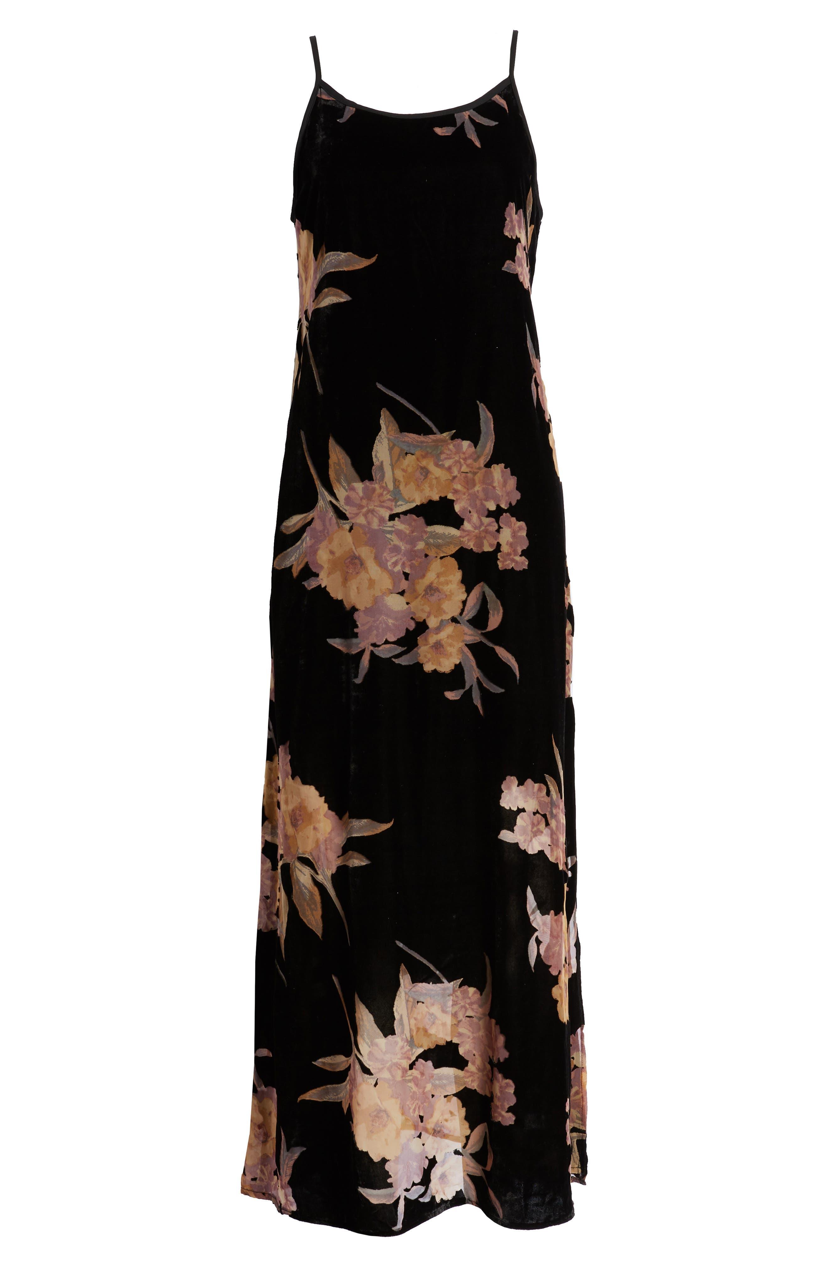 BAND OF GYPSIES,                             Mallorey Floral Print Velvet Dress,                             Alternate thumbnail 7, color,                             001