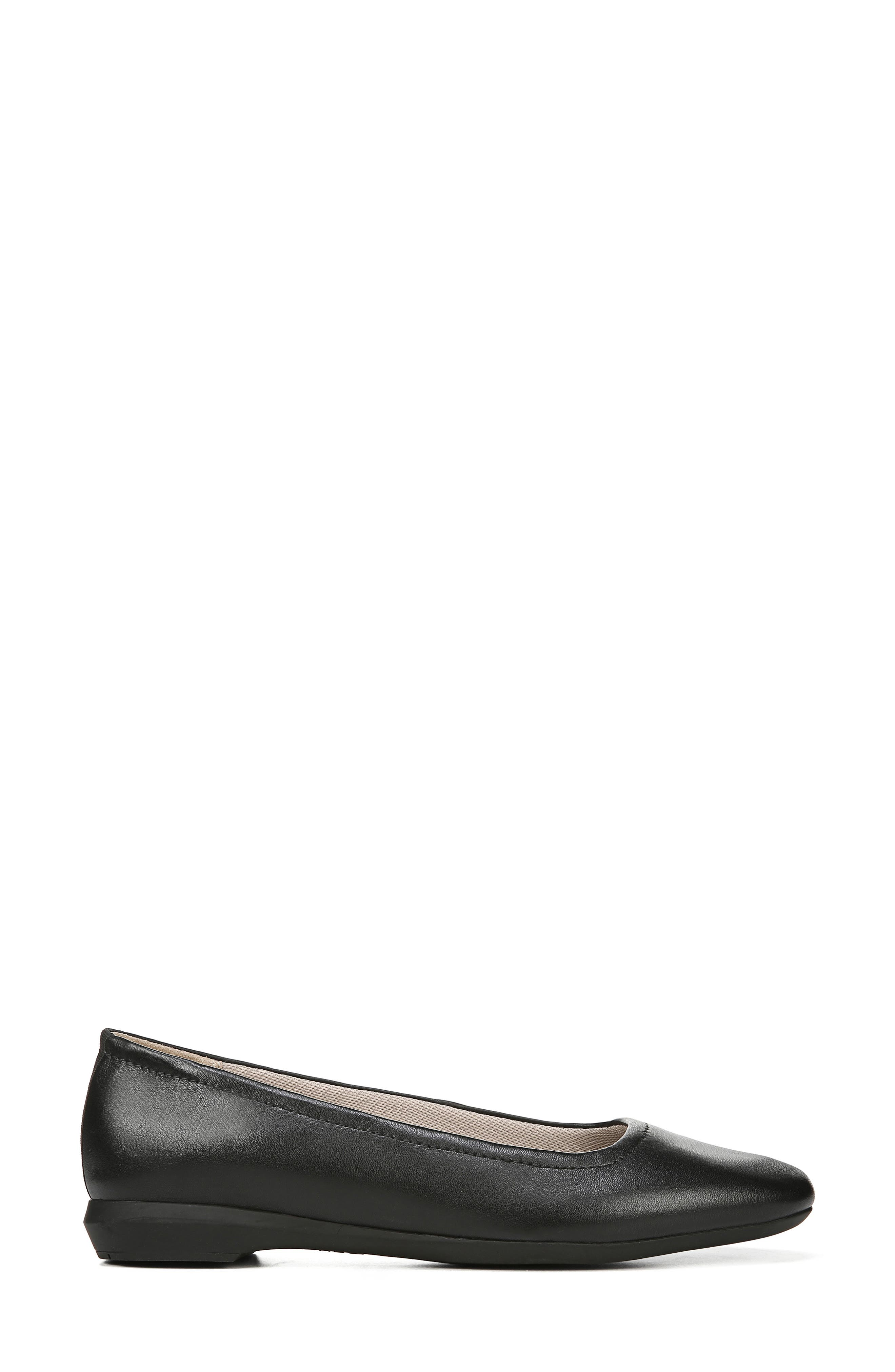 NATURALIZER,                             Alya Flat,                             Alternate thumbnail 3, color,                             BLACK LEATHER