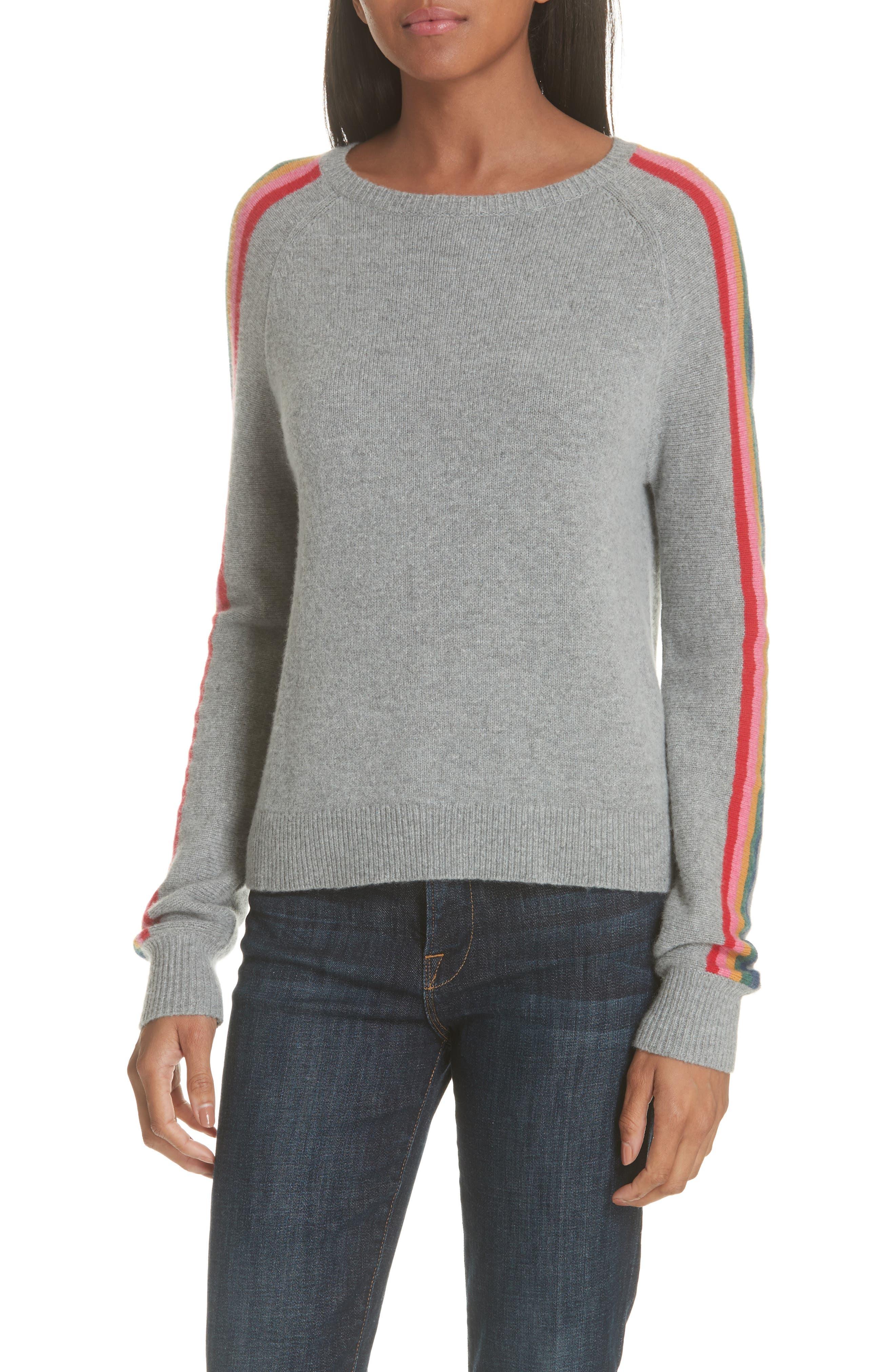 Rainbow Stripe Merino Wool Blend Sweater,                             Main thumbnail 1, color,                             MEDIUM GREY MELANGE
