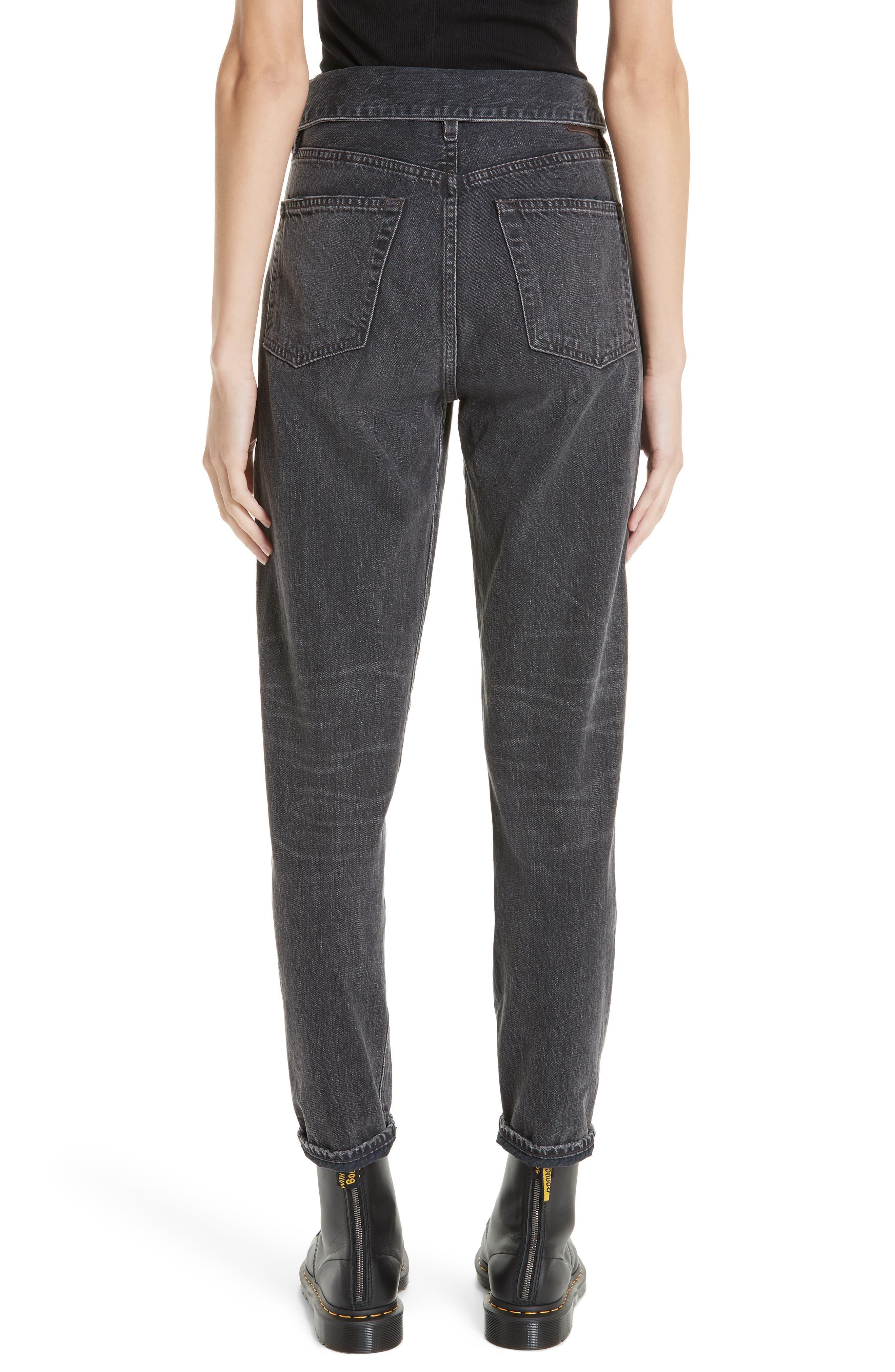 JEAN ATELIER,                             Flip Straight Leg Jeans,                             Alternate thumbnail 2, color,                             ONYX