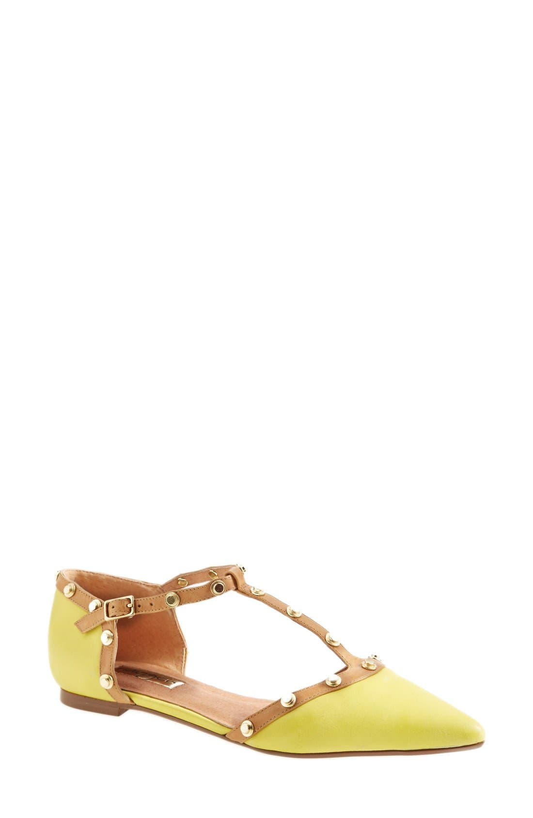 'Olson' Pointy Toe Studded T-Strap Flat,                             Main thumbnail 15, color,