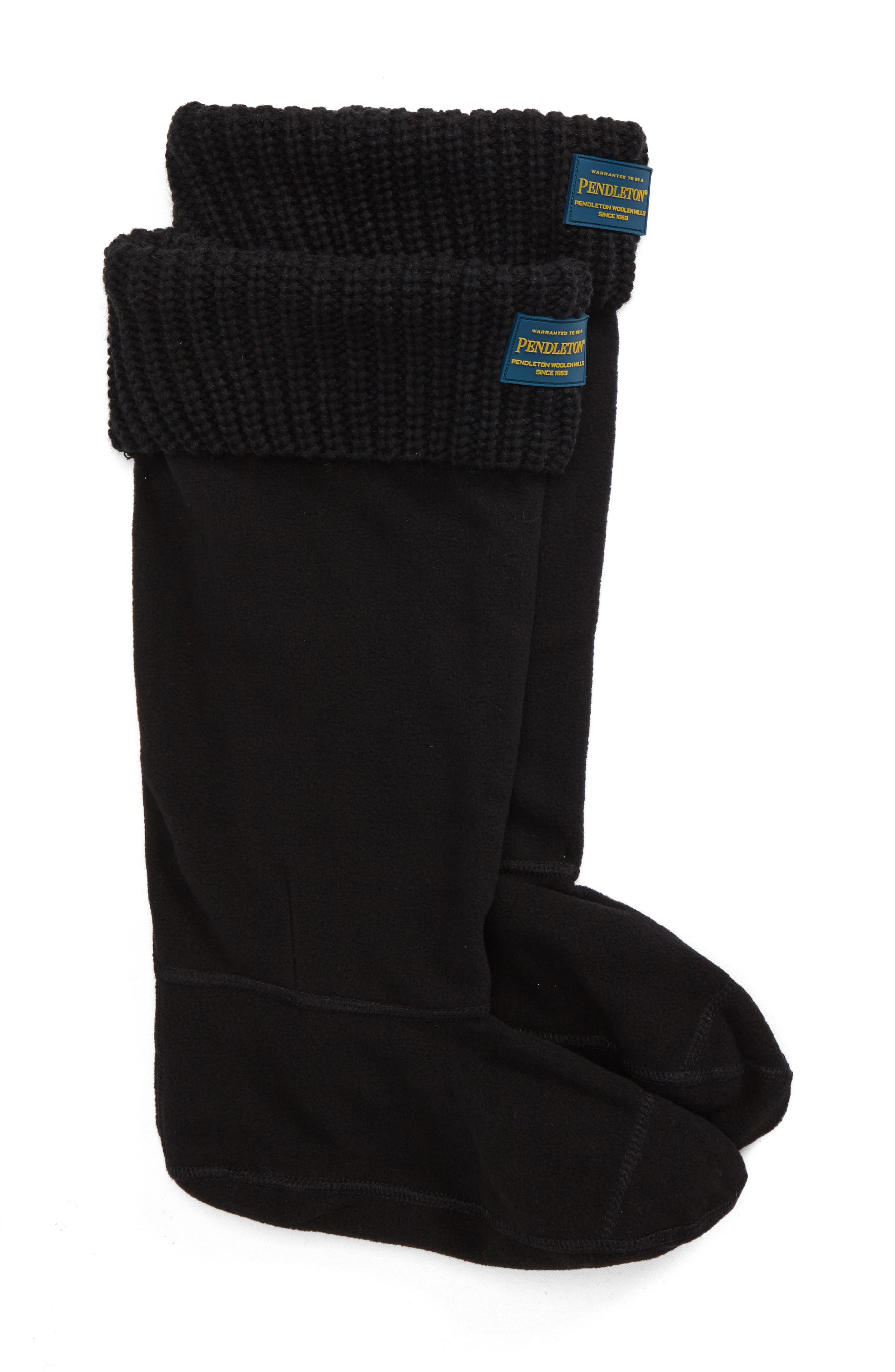 Pendleton Shaker Stitch Tall Boot Socks,                             Main thumbnail 1, color,                             BLACK