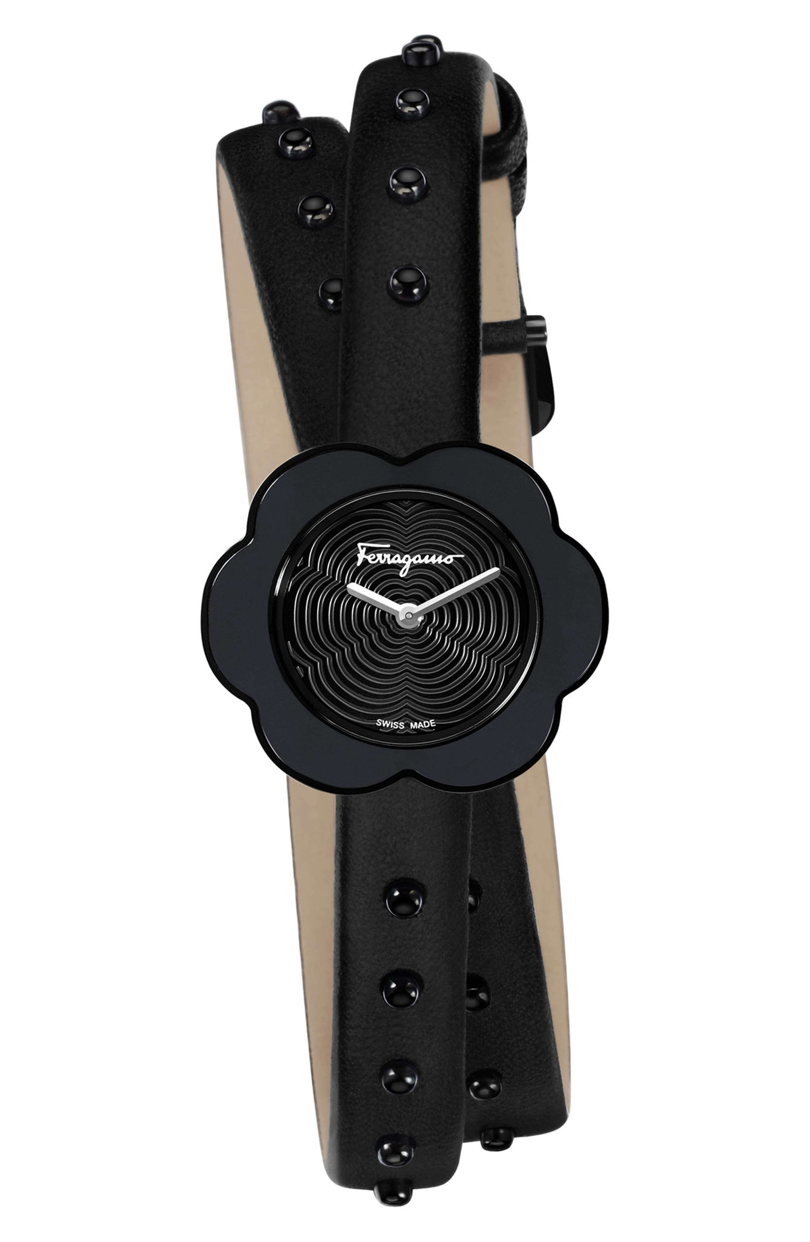 Fiore Leather Strap Watch, 24mm,                             Main thumbnail 1, color,                             BLACK