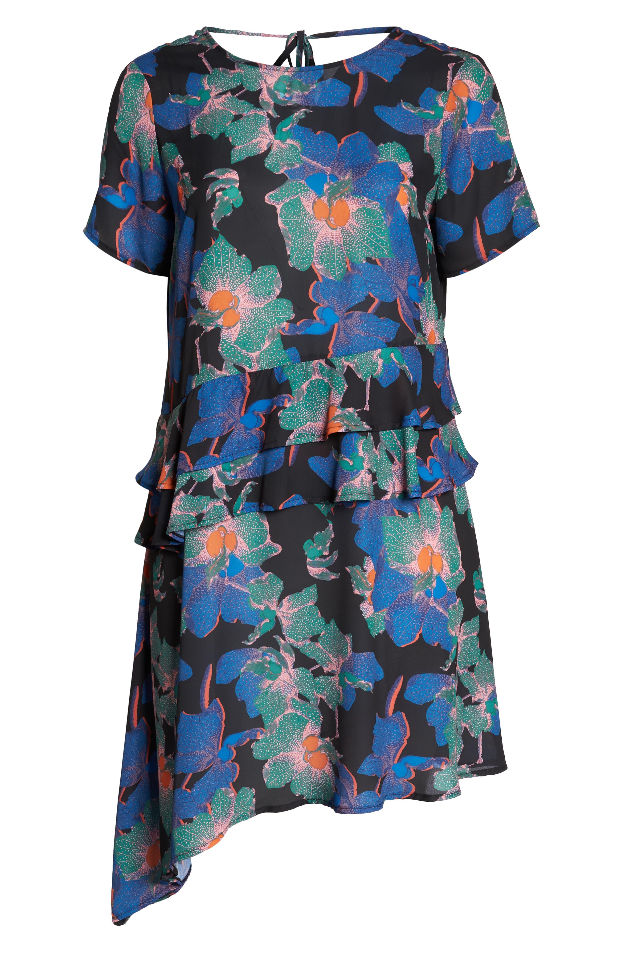 Floral Asymmetric Dress,                             Alternate thumbnail 7, color,                             MULTI