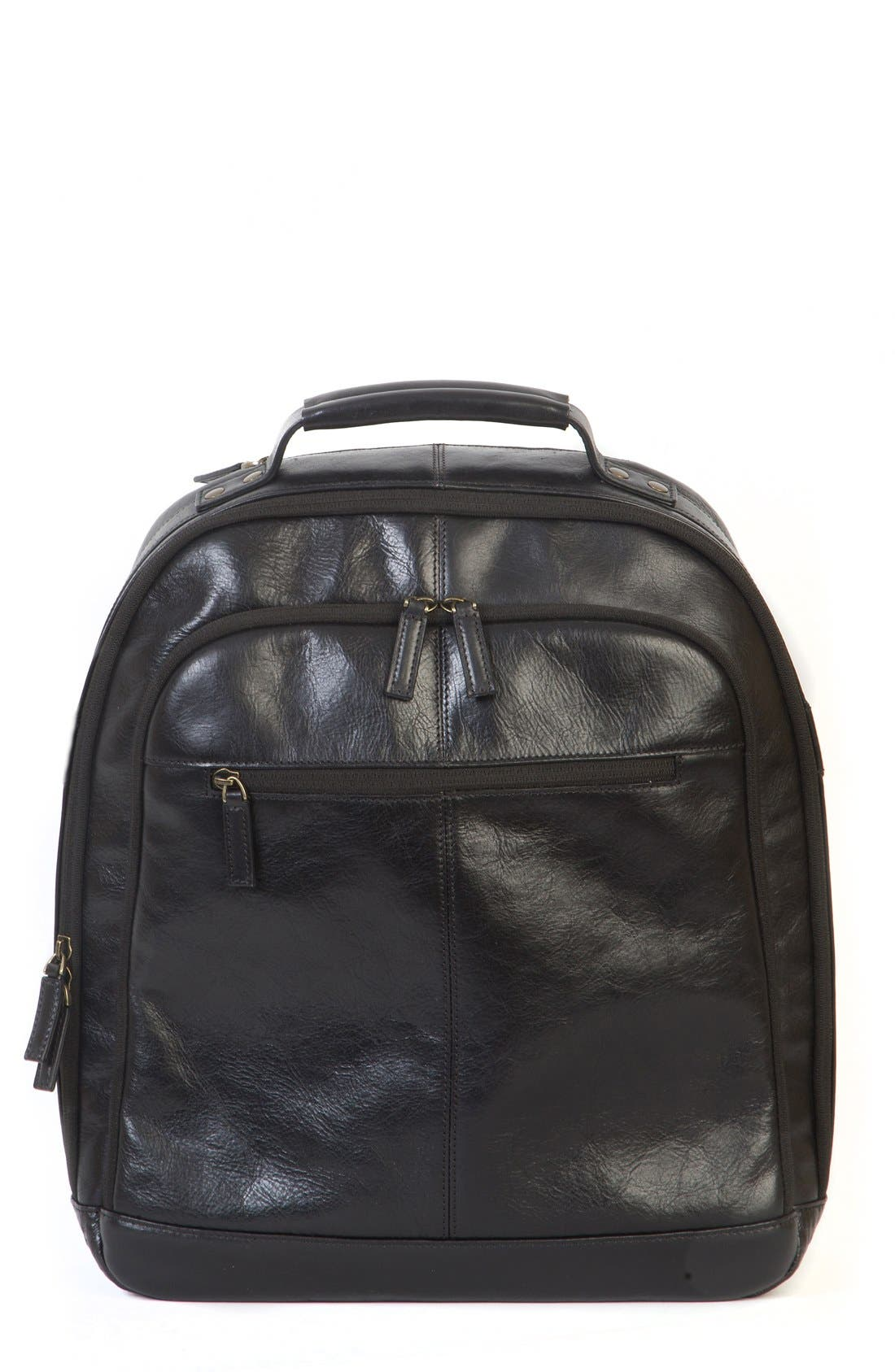 'Becker' Leather Backpack,                         Main,                         color, 001