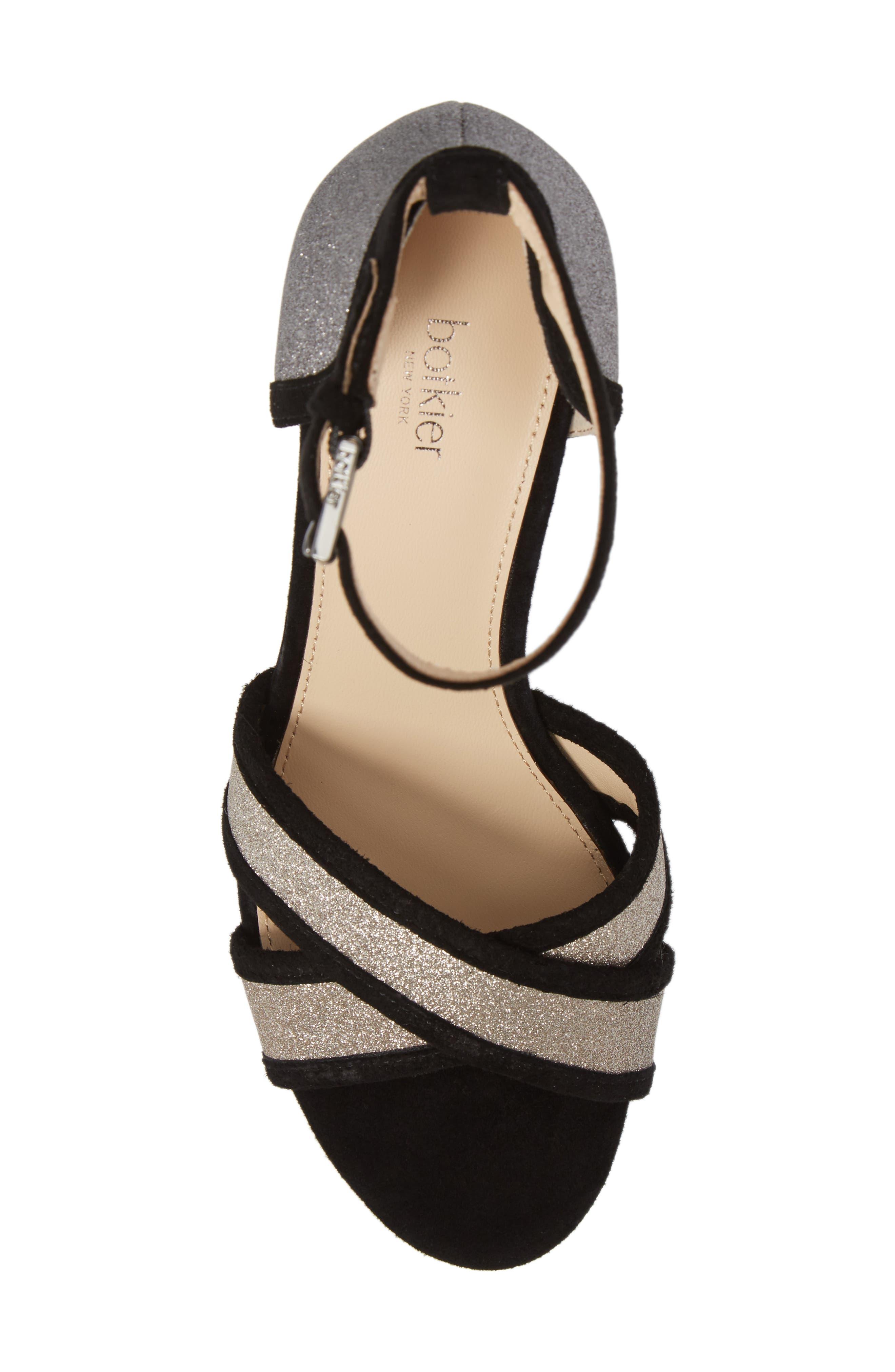 Paloma Ankle Strap Sandal,                             Alternate thumbnail 5, color,                             GUNMETAL GLITTER