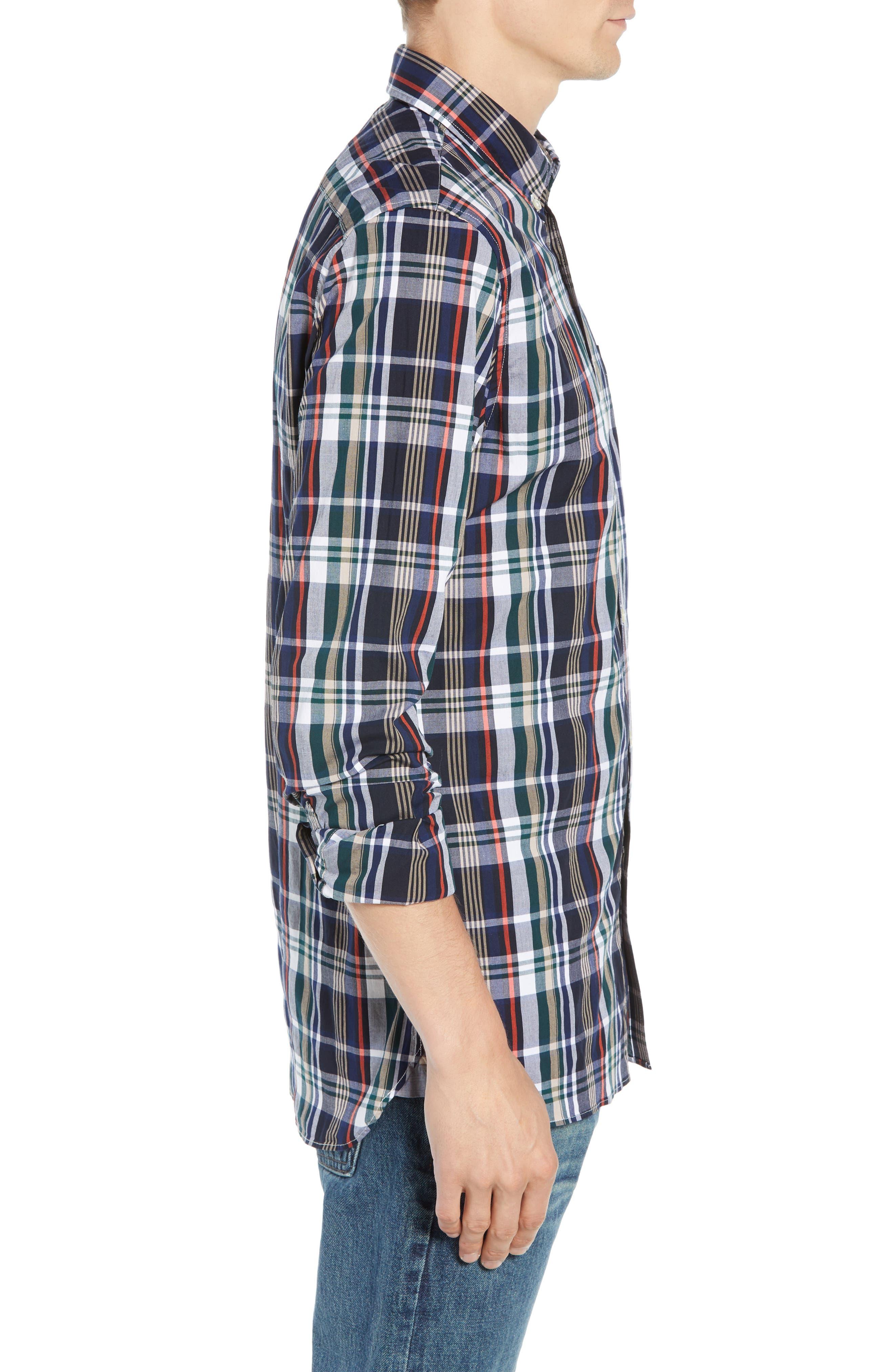 Slim Fit Plaid Sport Shirt,                             Alternate thumbnail 4, color,                             DY5 ACONIT/ MULTICO