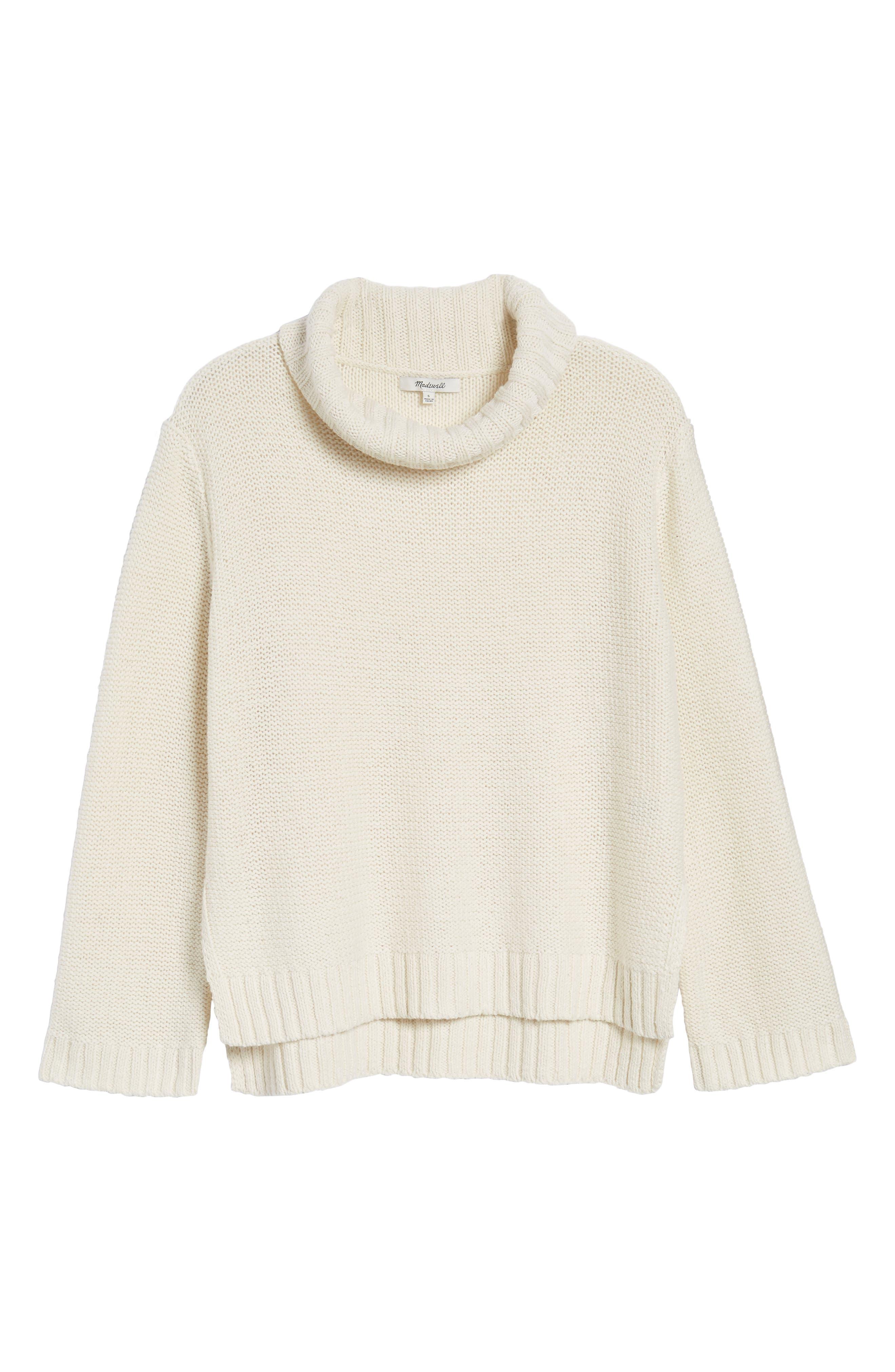 Flecked Turtleneck Sweater,                             Alternate thumbnail 6, color,                             100