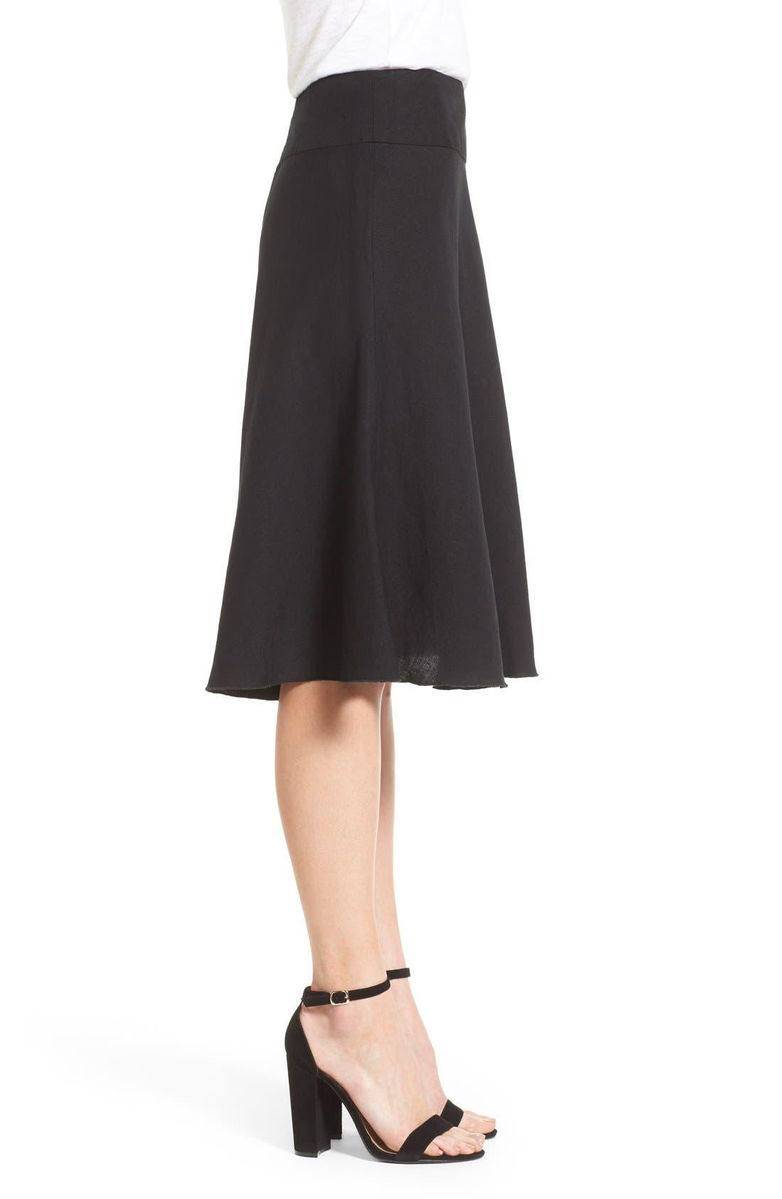 Summer Fling Linen Blend Skirt,                             Alternate thumbnail 2, color,                             BLACK ONYX