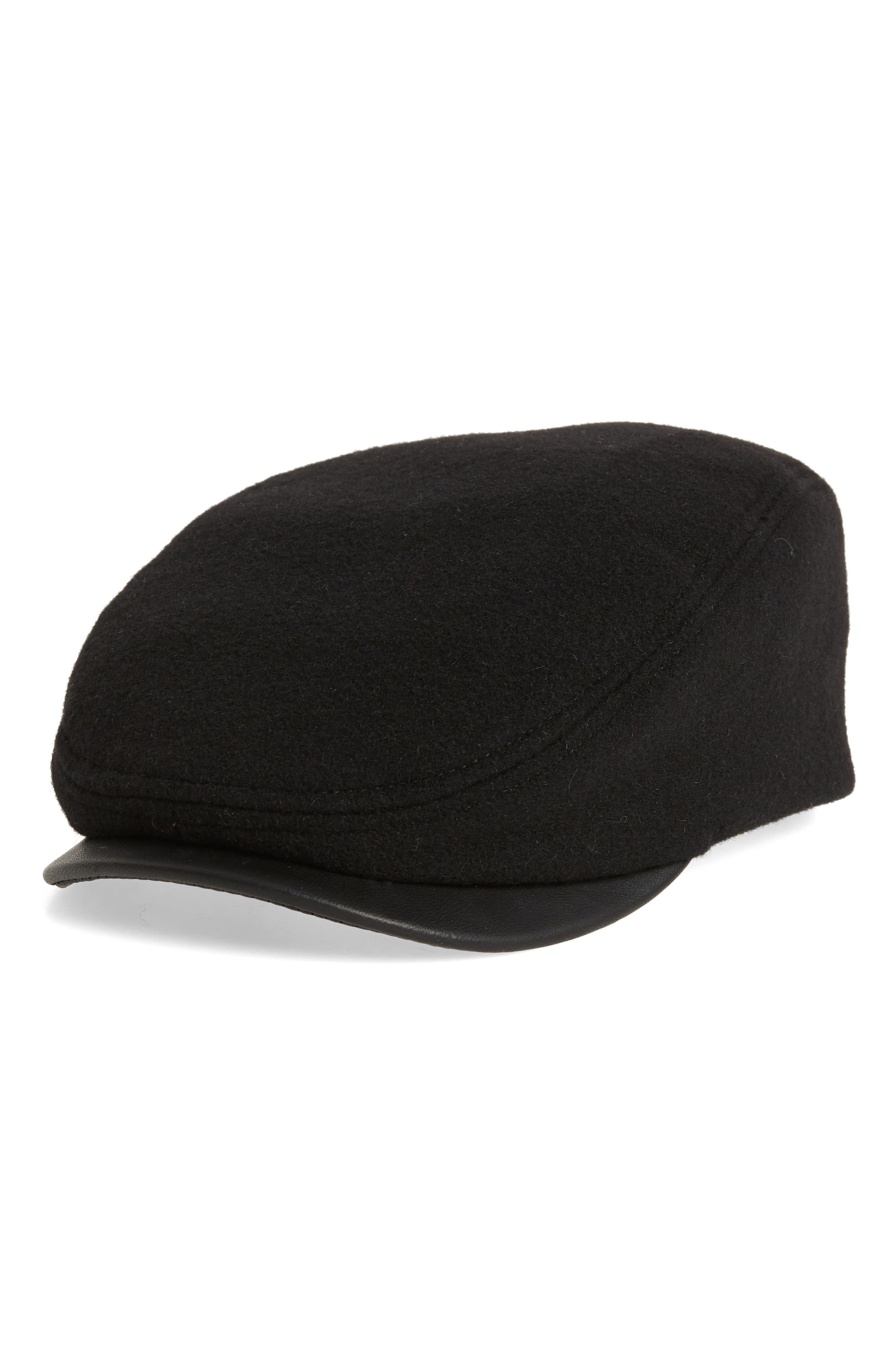 Melton Ivy Cap with Leather Visor,                         Main,                         color, 001