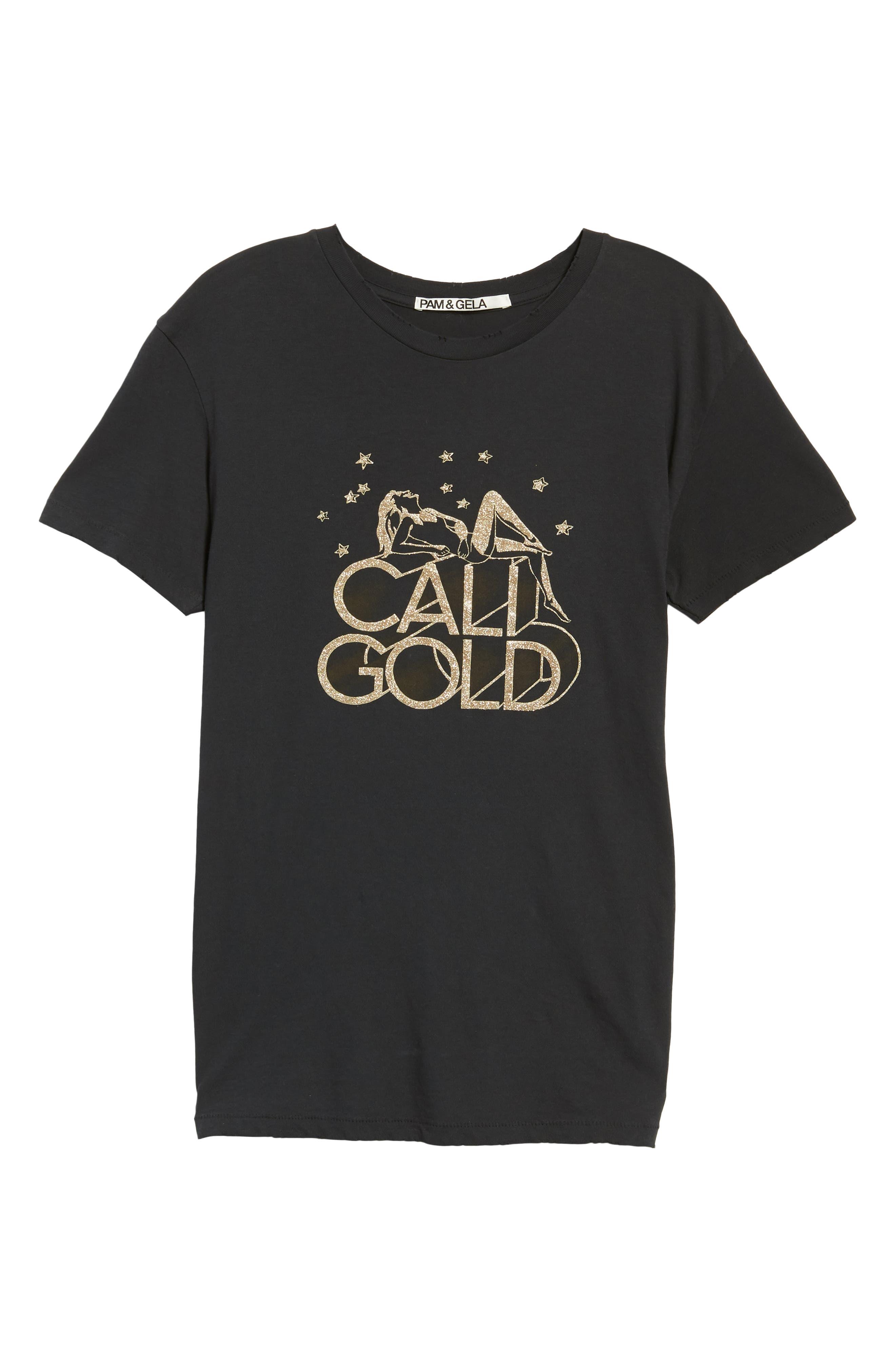 Cali Gold Tee,                             Alternate thumbnail 6, color,                             FADED BLACK