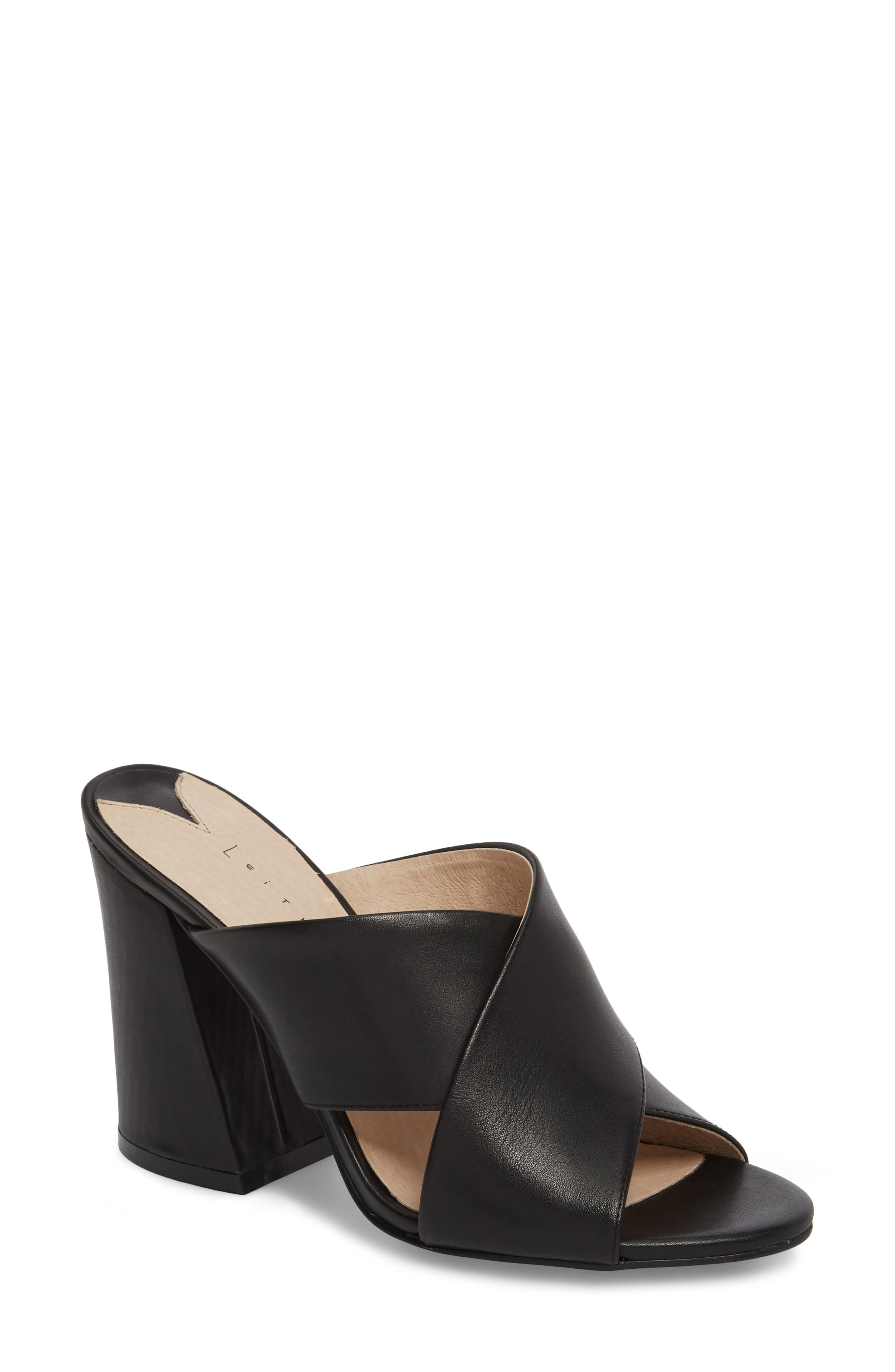 Cammie Block Heel Sandal,                             Main thumbnail 1, color,                             BLACK LEATHER