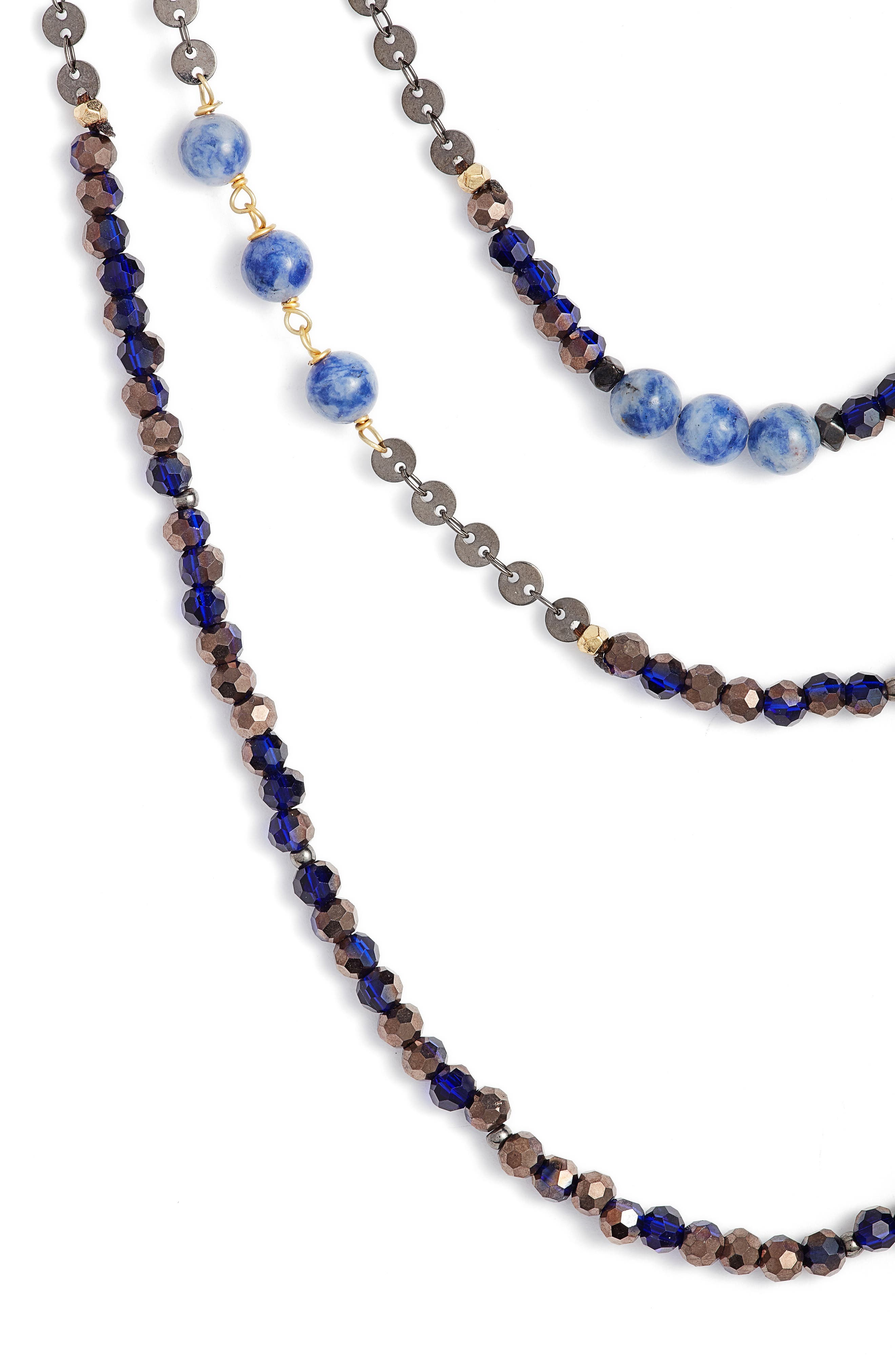 Nakamol Semiprecious Stone Triple Strand Necklace,                             Alternate thumbnail 2, color,