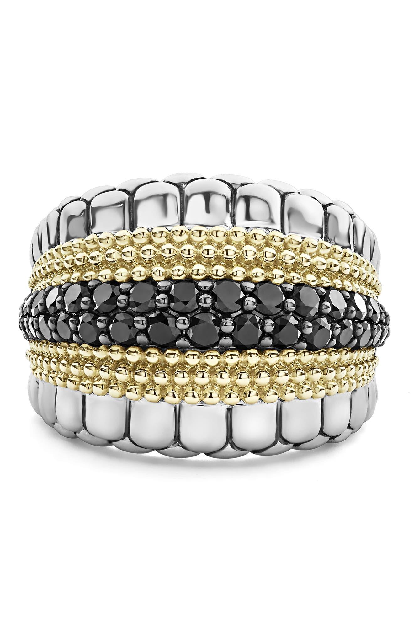 Diamond Lux Black Diamond Band Ring,                             Alternate thumbnail 5, color,                             SILVER/ GOLD/ BLACK DIAMOND