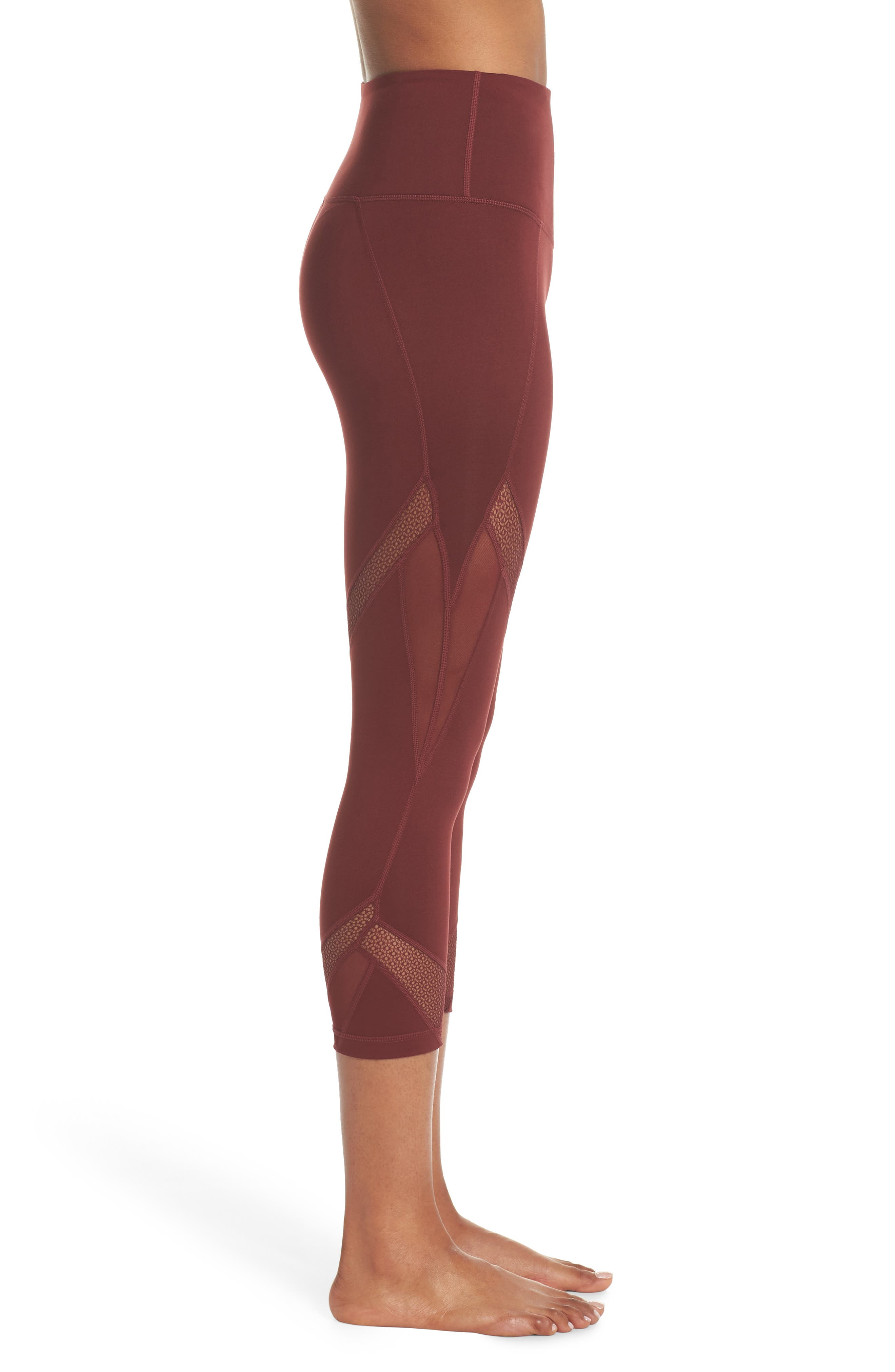 Moroccan High Waist Crop Leggings,                             Alternate thumbnail 3, color,                             RED TANNIN