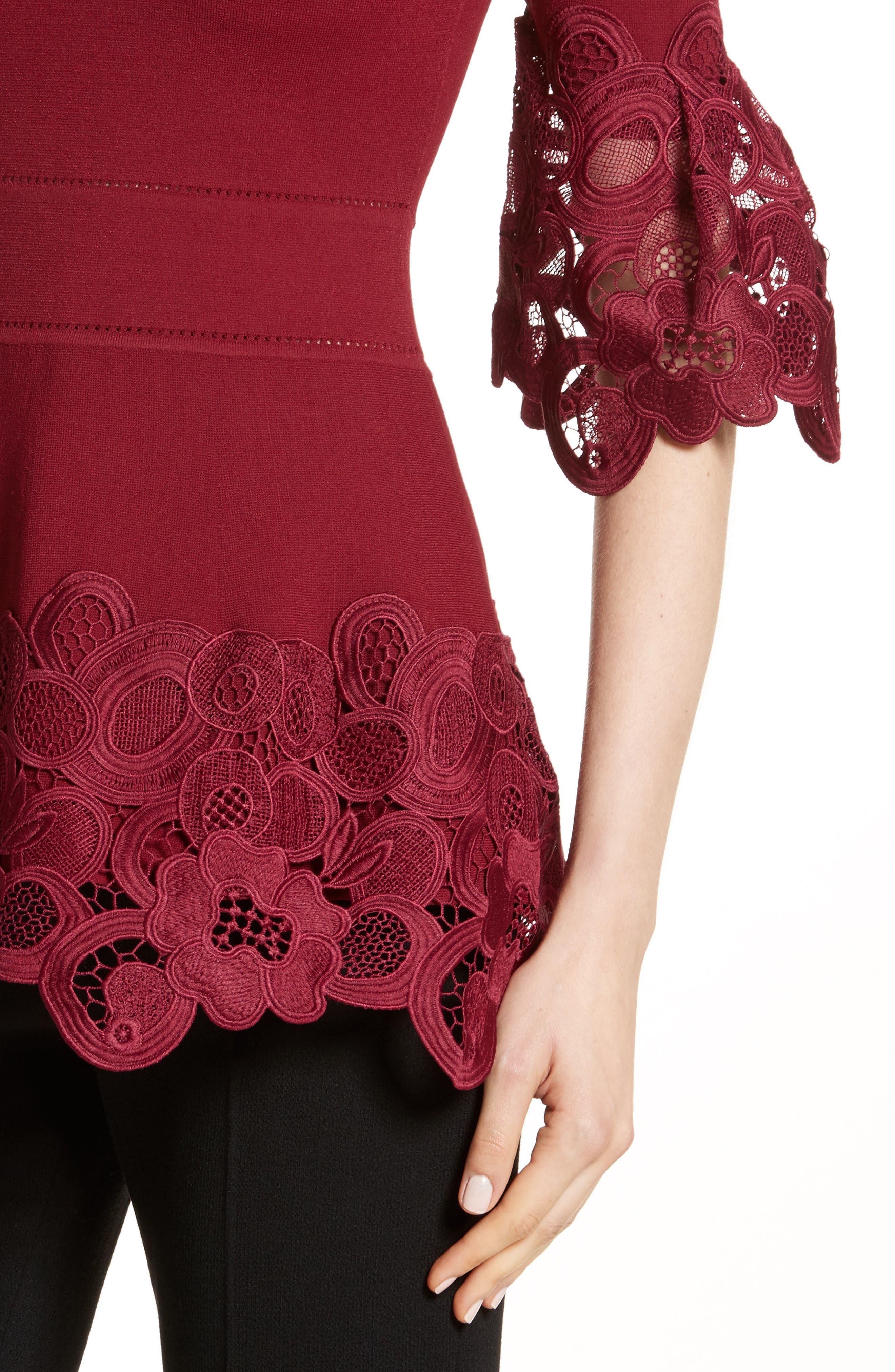 Lace Hem Knit Top,                             Alternate thumbnail 4, color,                             604