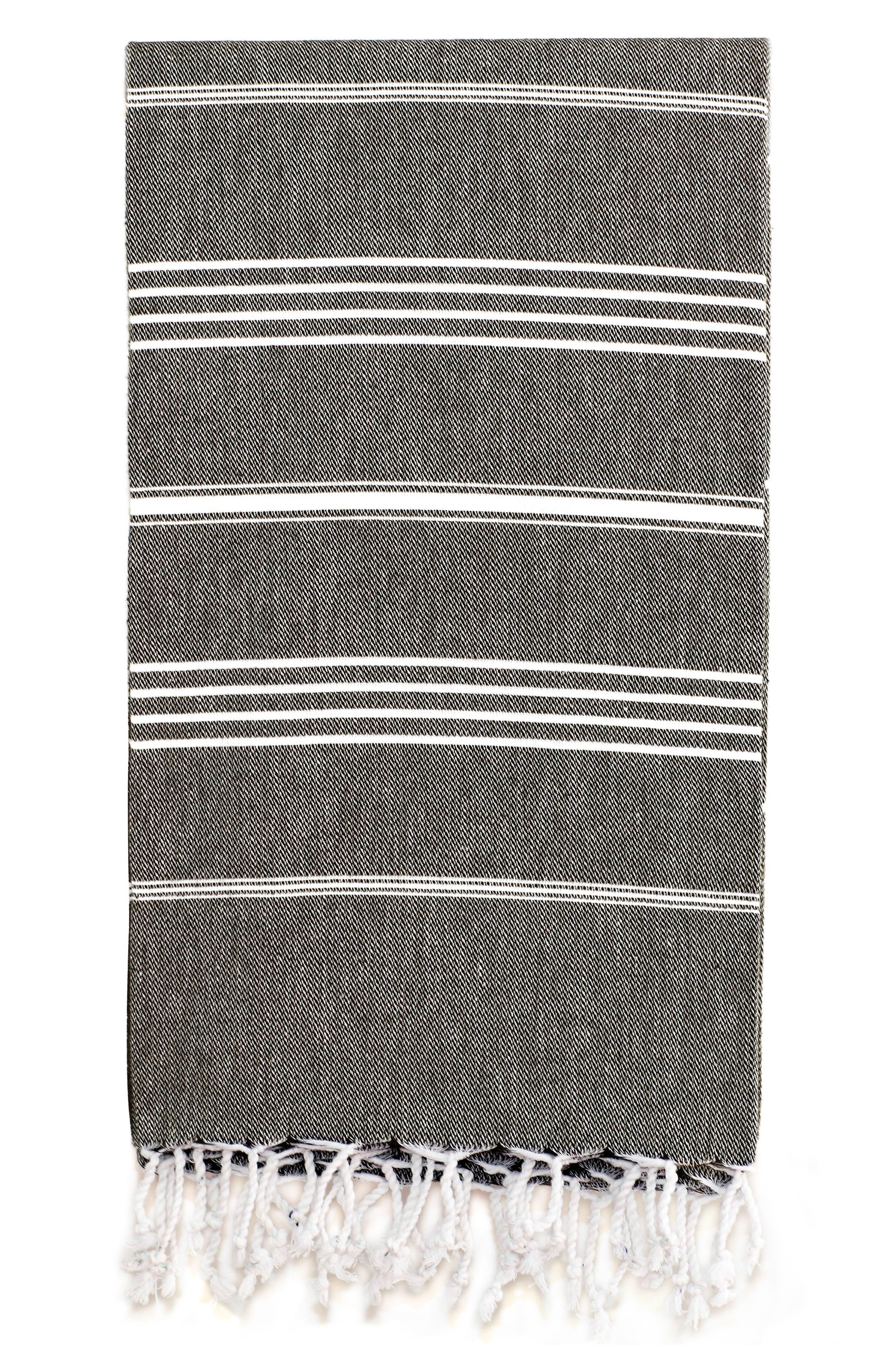 'Lucky' Turkish Pestemal Towel,                             Alternate thumbnail 2, color,                             BLACK