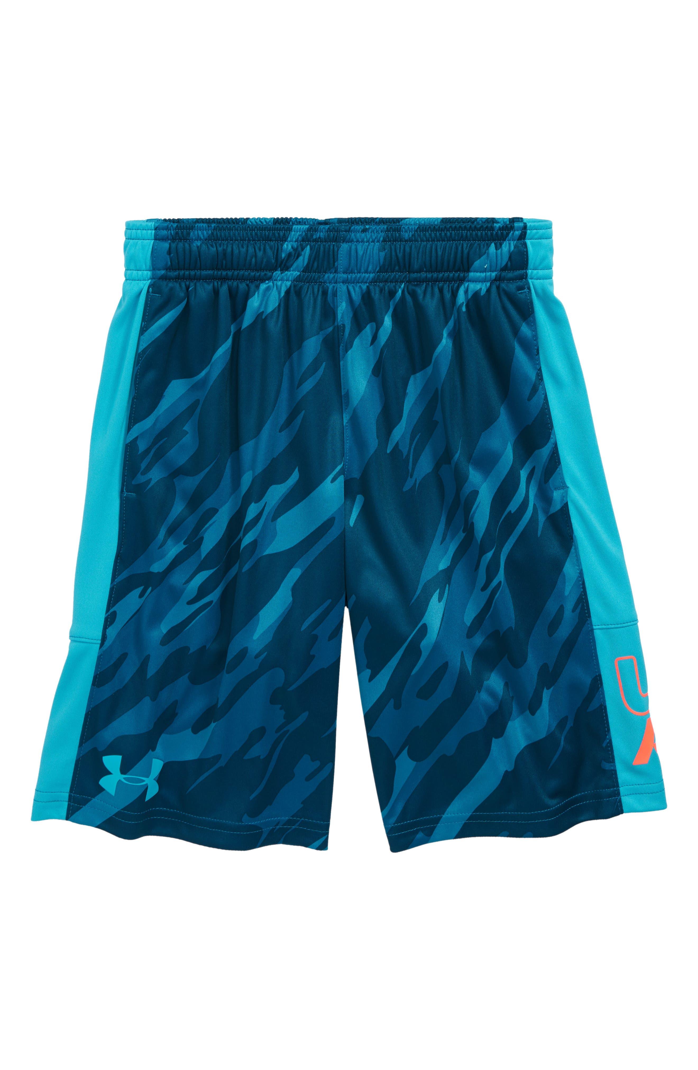 Stunt HeatGear<sup>®</sup> Shorts,                         Main,                         color, DECEIT/ TECHNO TEAL
