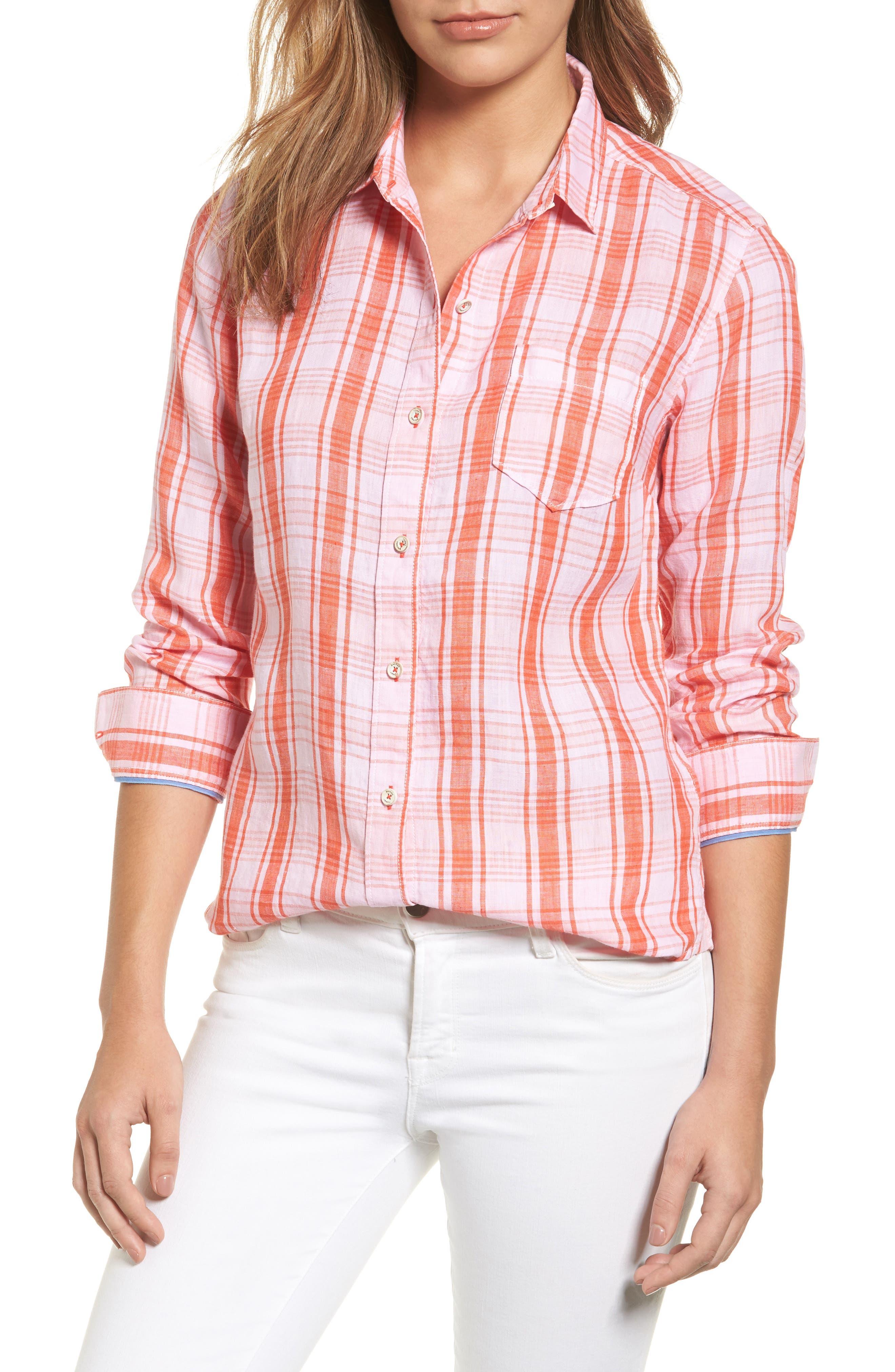 Athena Plaid Linen Shirt,                         Main,                         color, 800